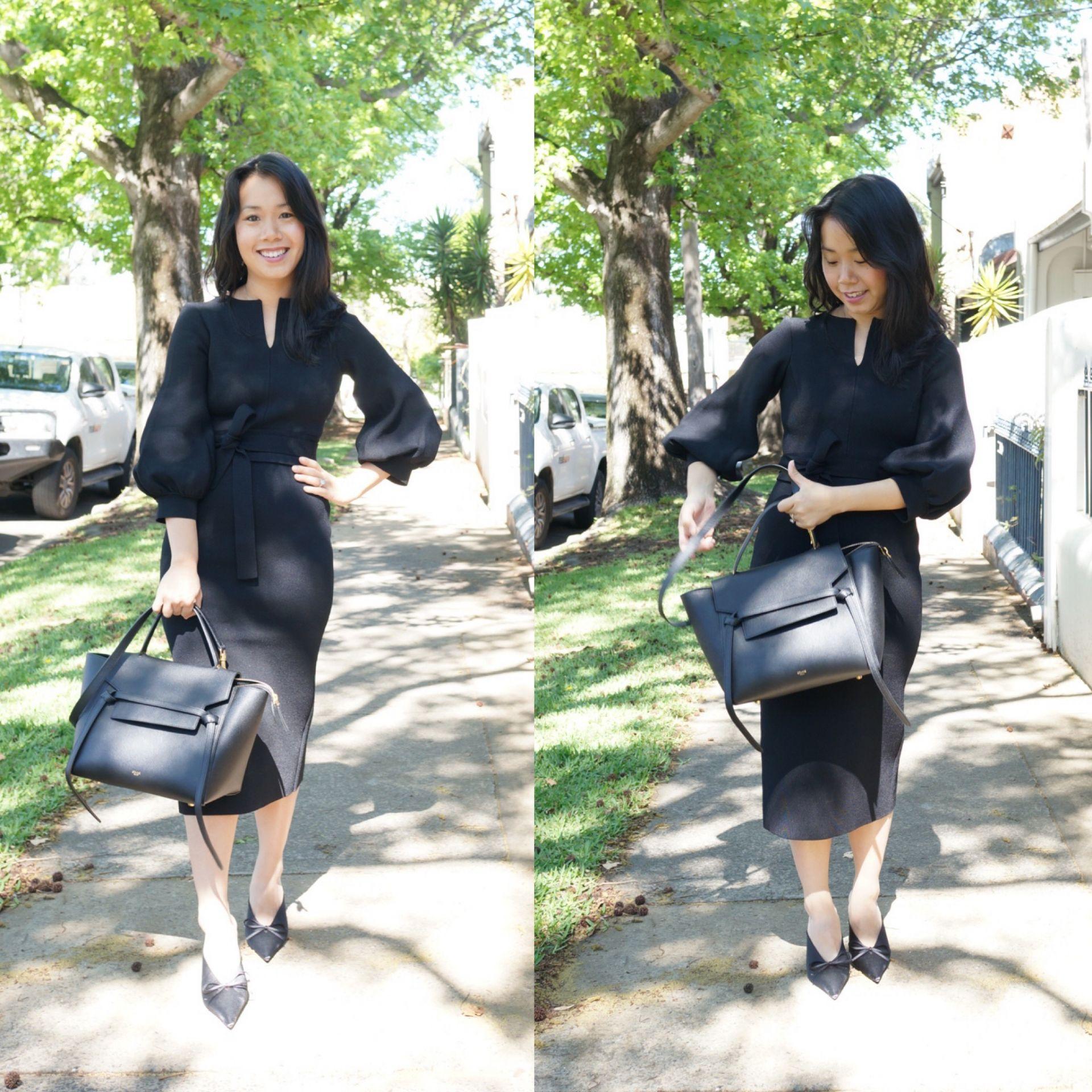 woman carrying celine mini belt bag for work
