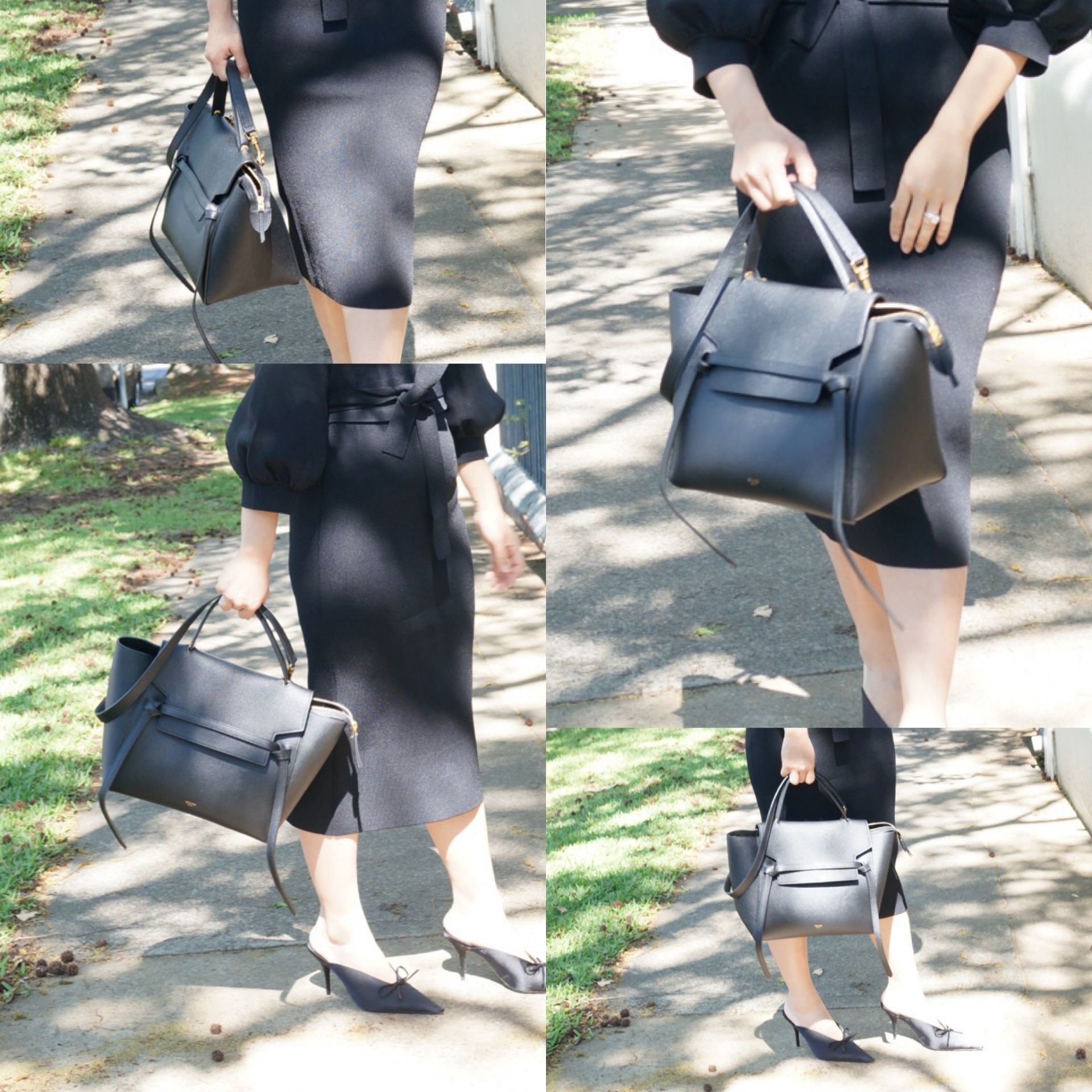 woman carrying celine mini belt bag