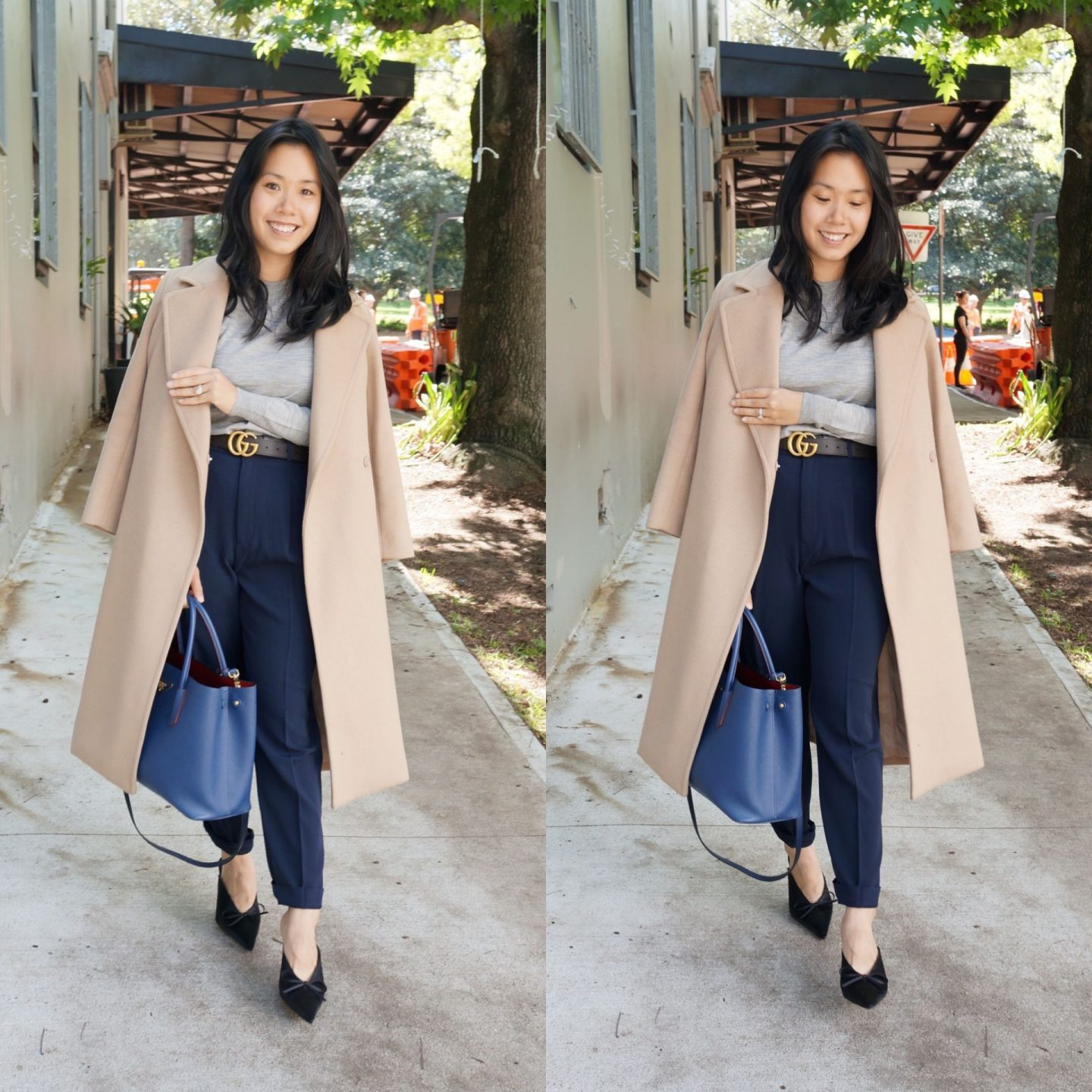 Woman's fall work outfit with camel coat