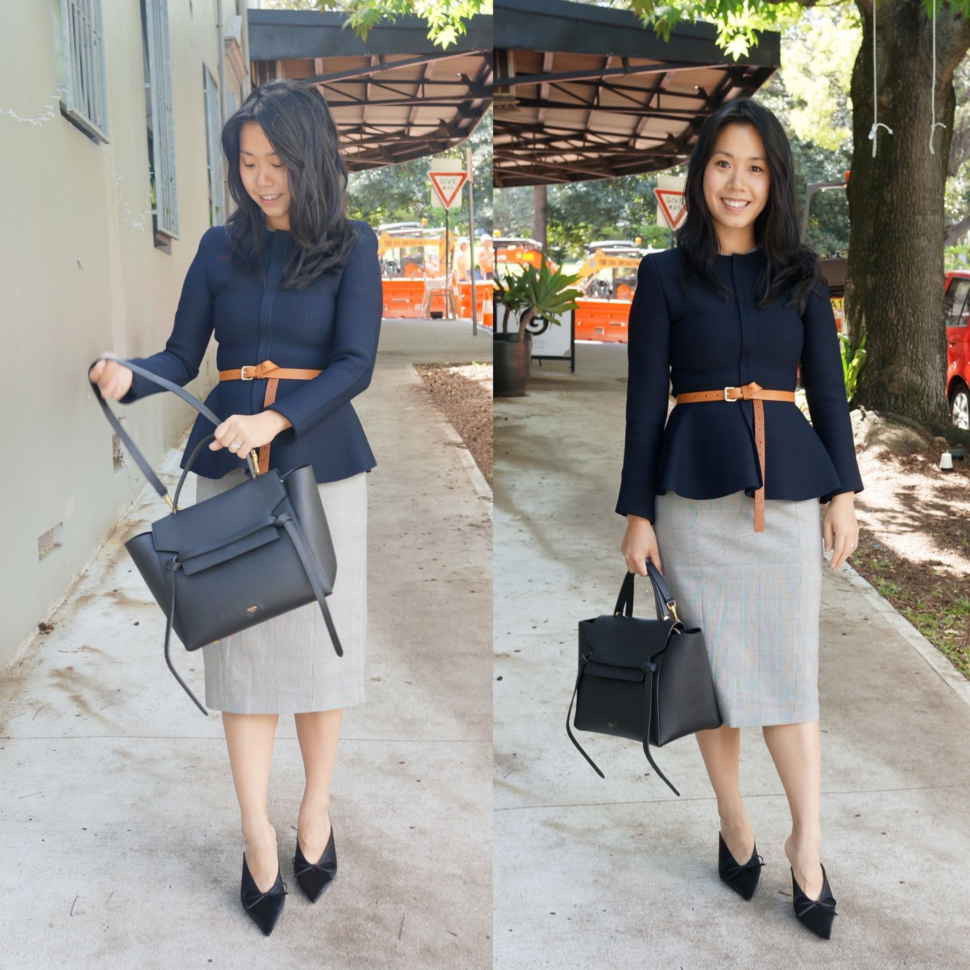 woman wearing belted jacket for work with celine belt bag