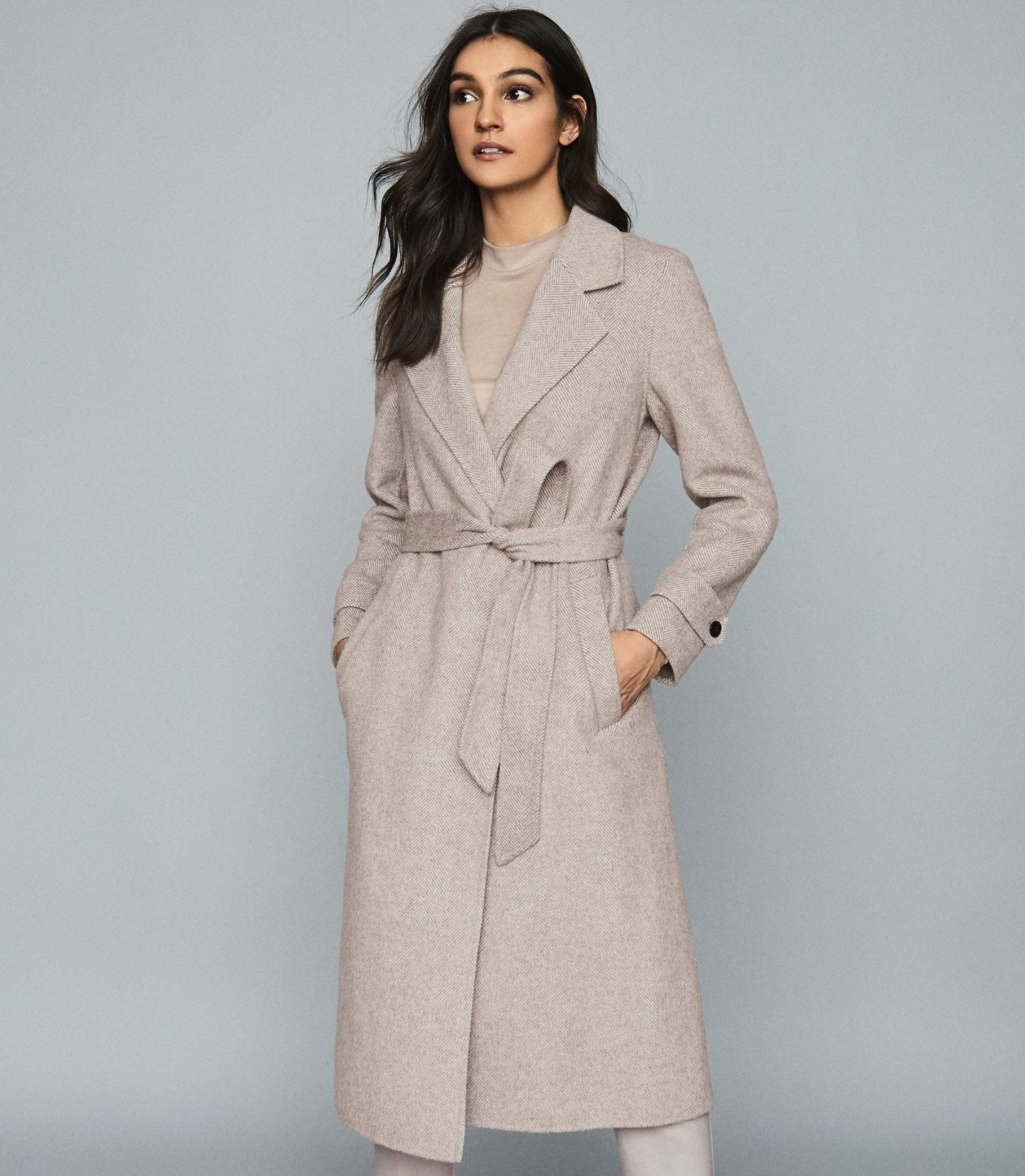 woman in reiss workwear overcoat