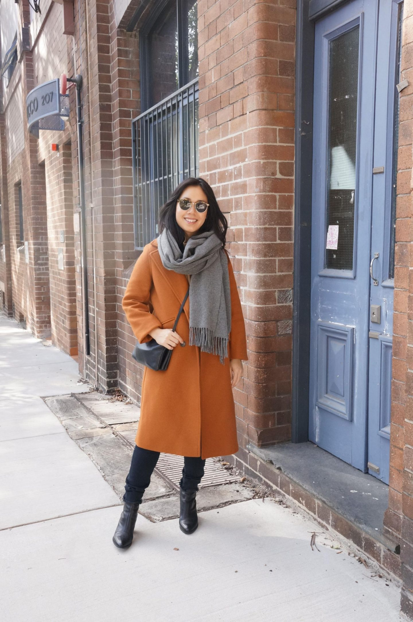 everlane italian rewool overcoat review with acne studios scarf
