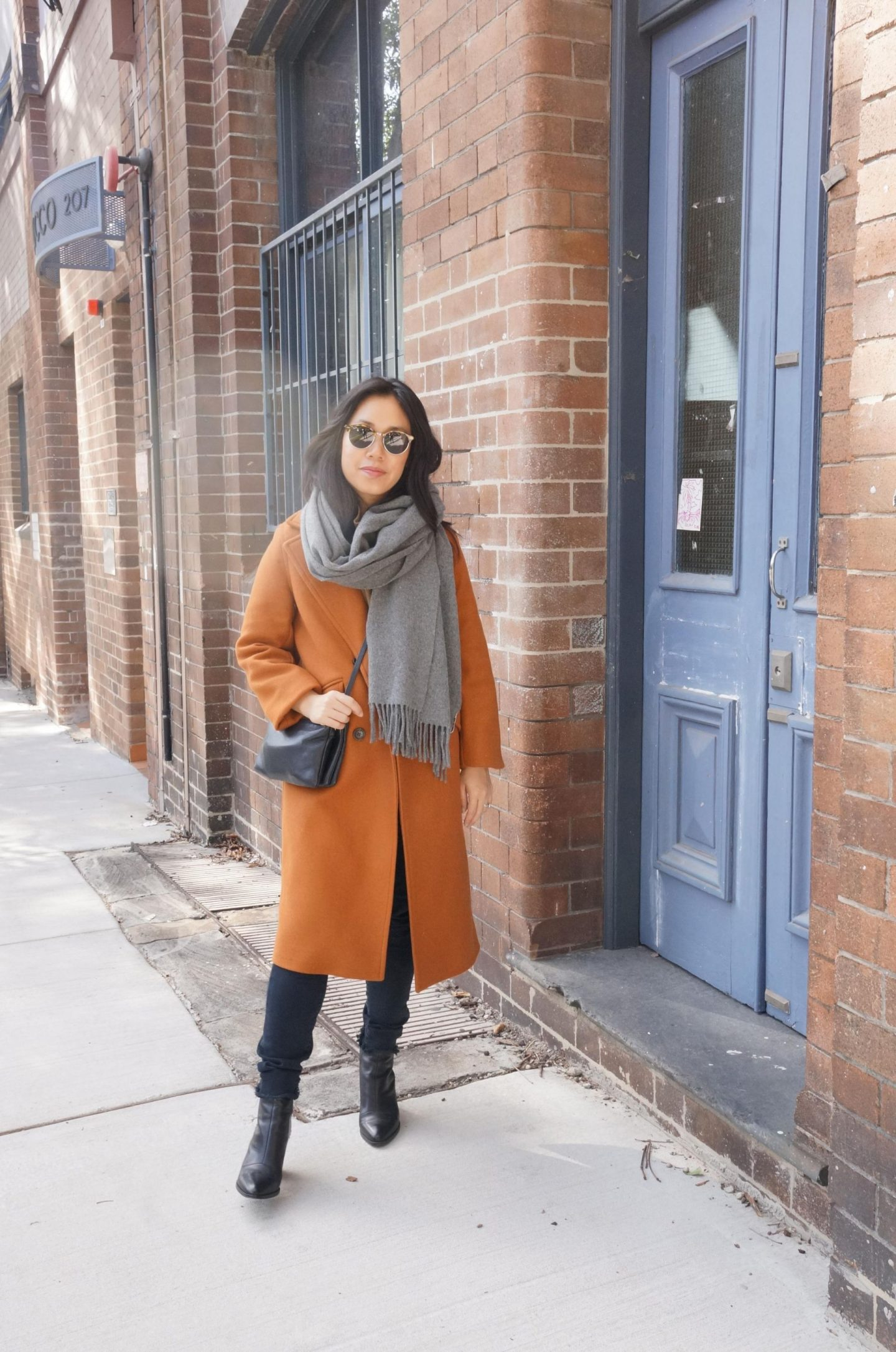 everlane overcoat and cashmere knit