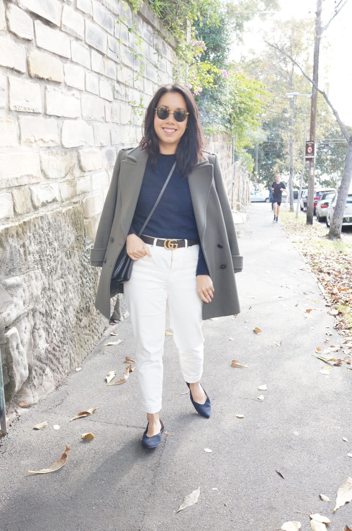 working from home outfit with khaki coat and everlane flats