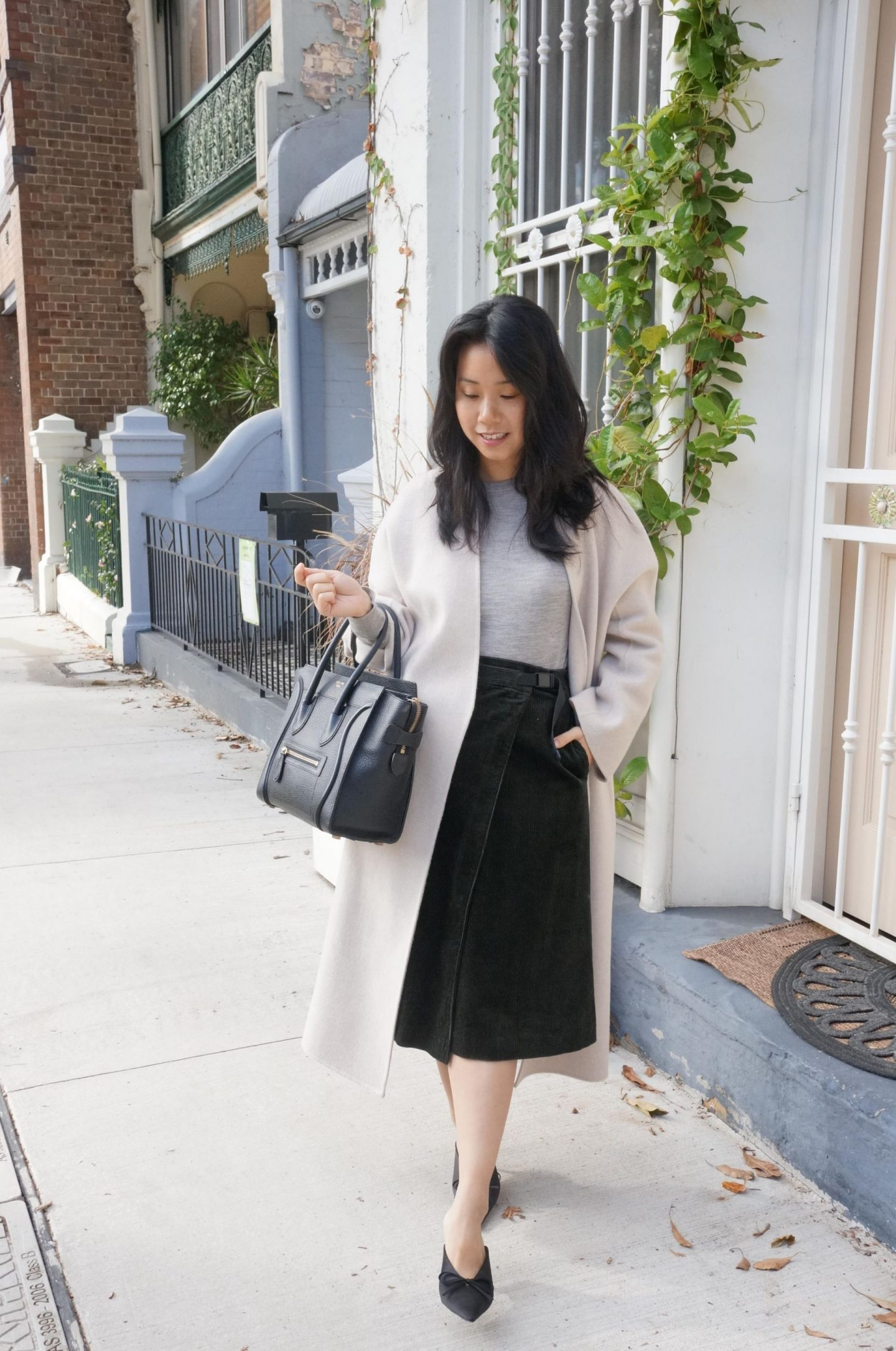 midi skirts for the office, celine luggage tote