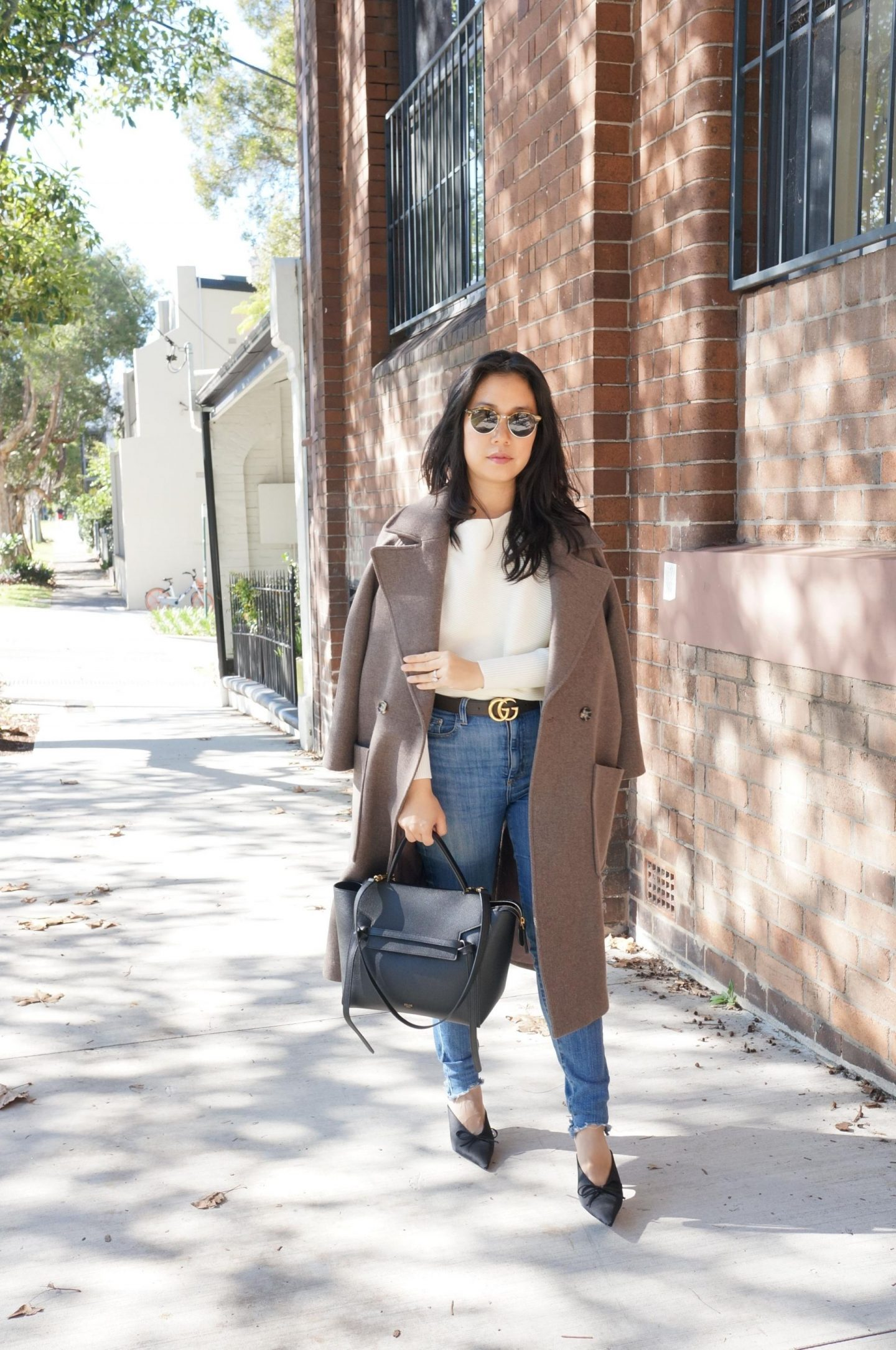 wardrobe staples with gucci belt and knife mules