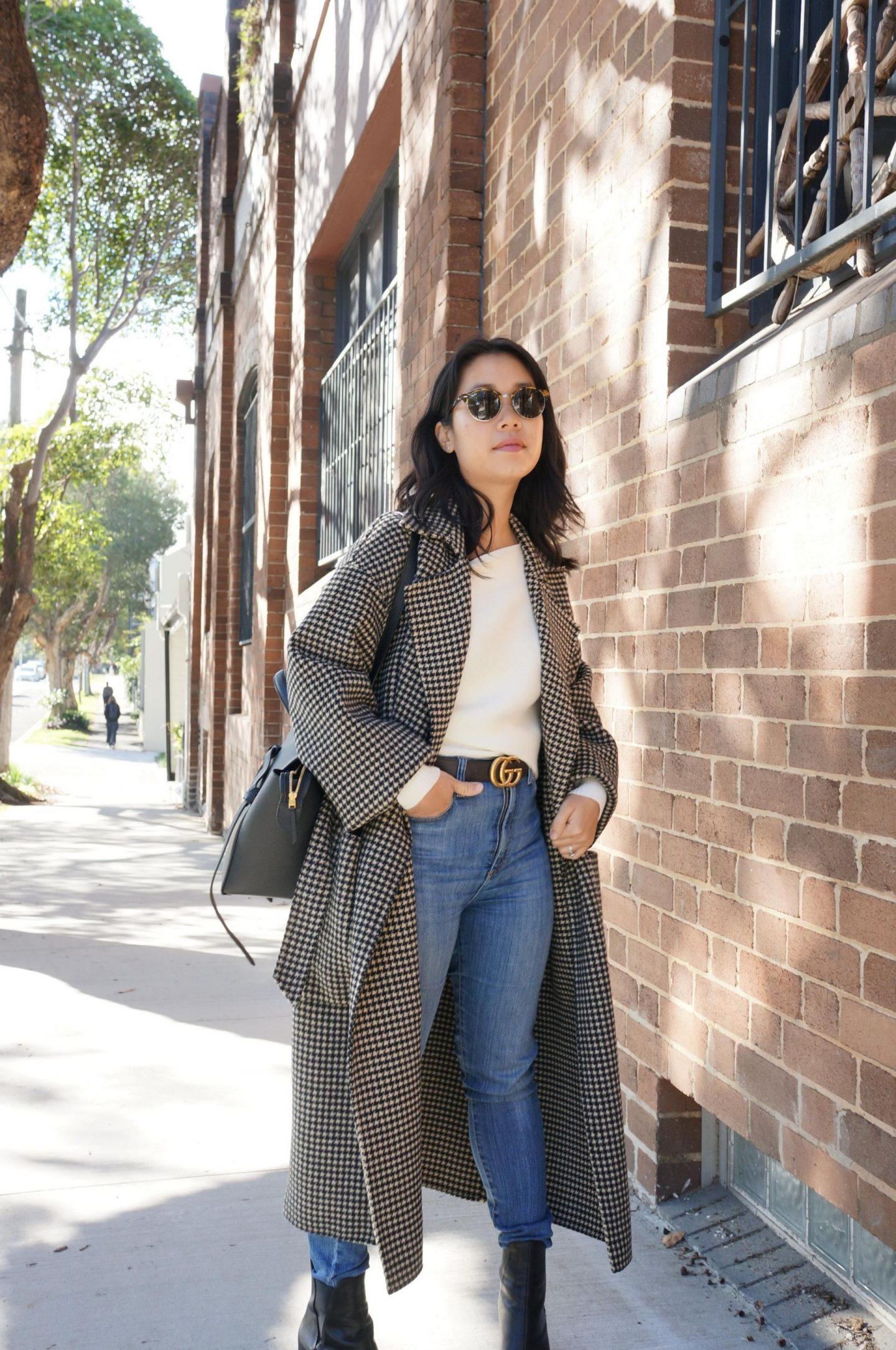 nanushka alamo coat in houndstooth