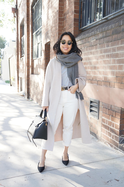 petite style tips wearing gucci belt, dior slingbacks and celine belt bag
