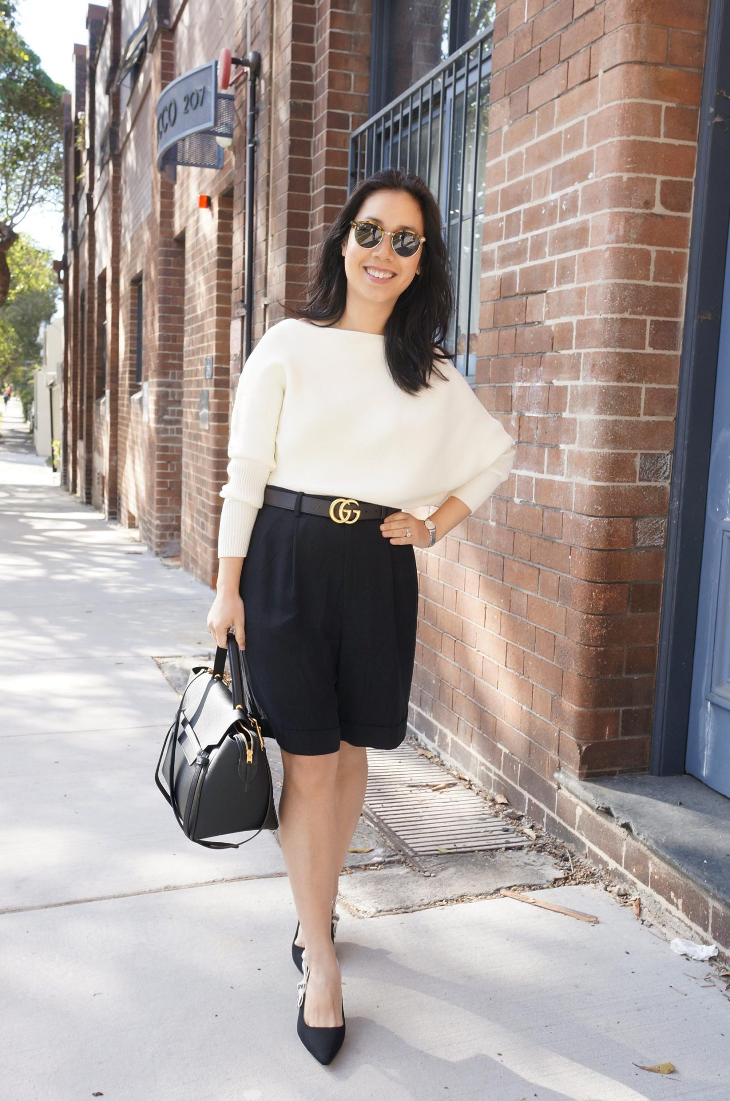 reiss lorna knit with everlane put together pleat shorts