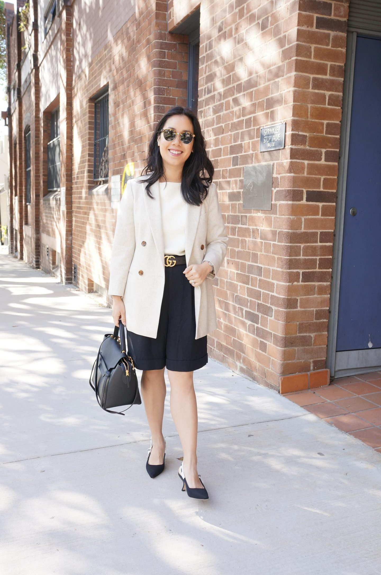 shorts for the office featuring everlane put together pleat shorts, dior slingbacks and celine belt bag