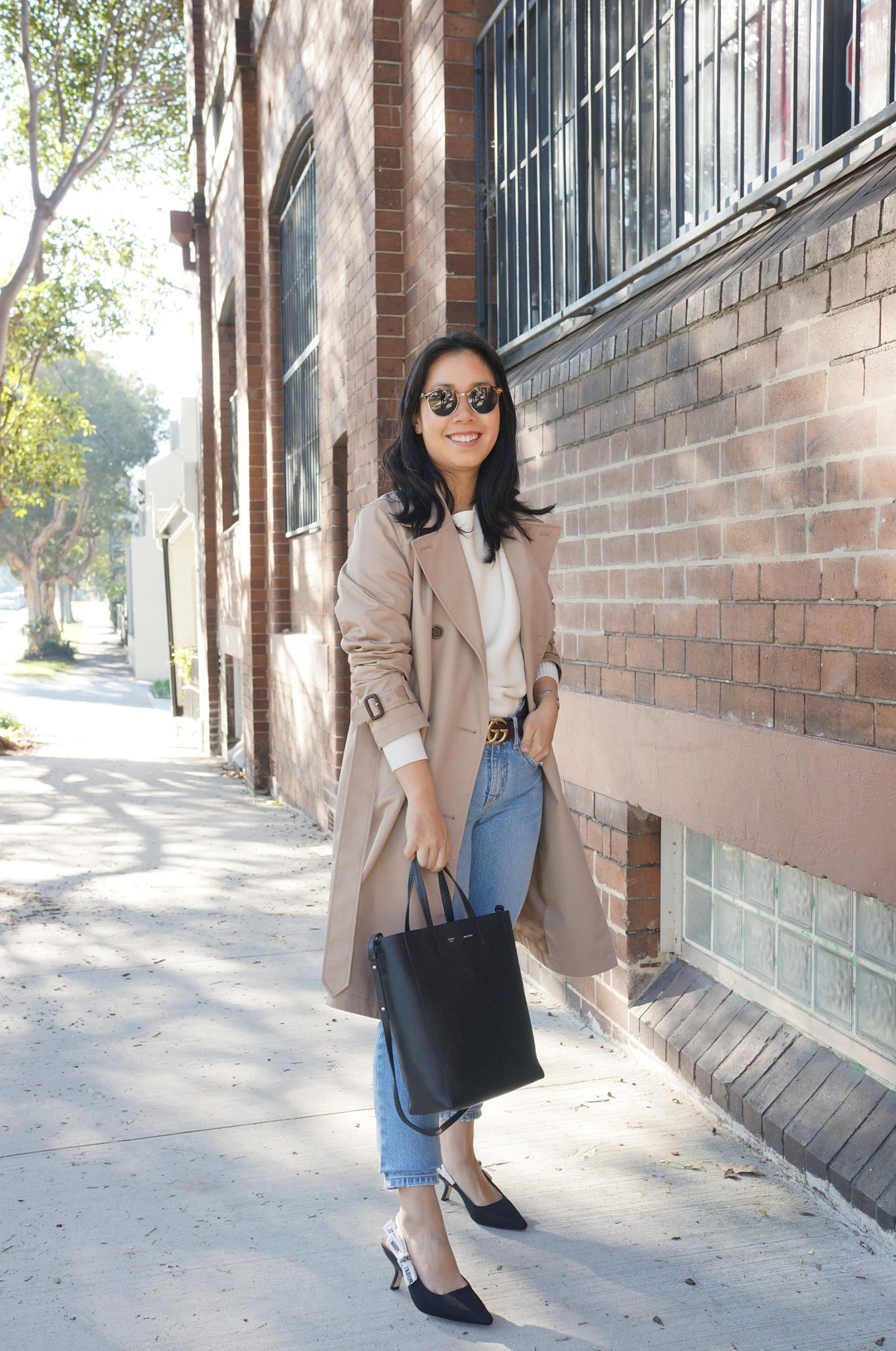 uniqlo trench coat styled 4 ways with dior j'adior slingbacks