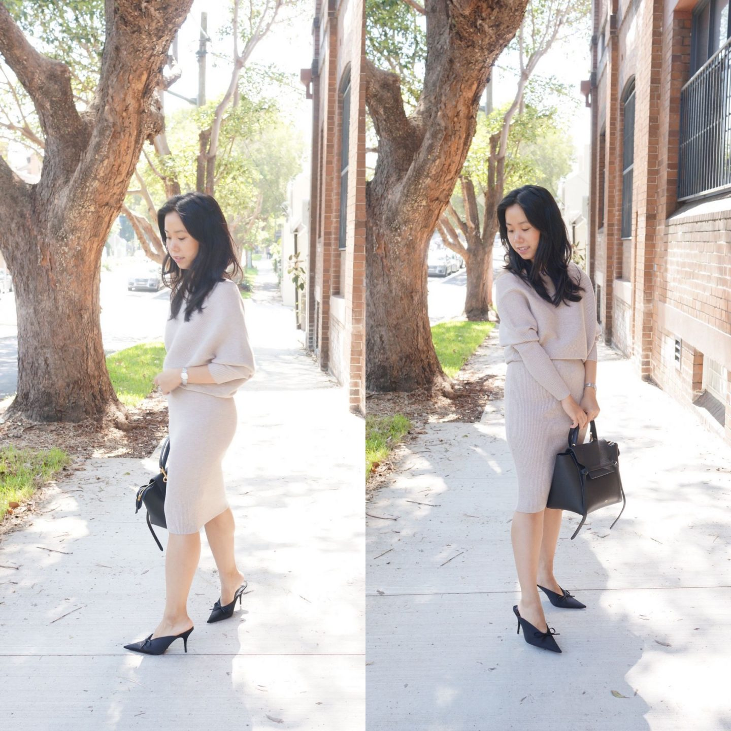 reiss lara dress in off shoulder knit dress style review in stone styled for work with gucci belt and celine belt bag
