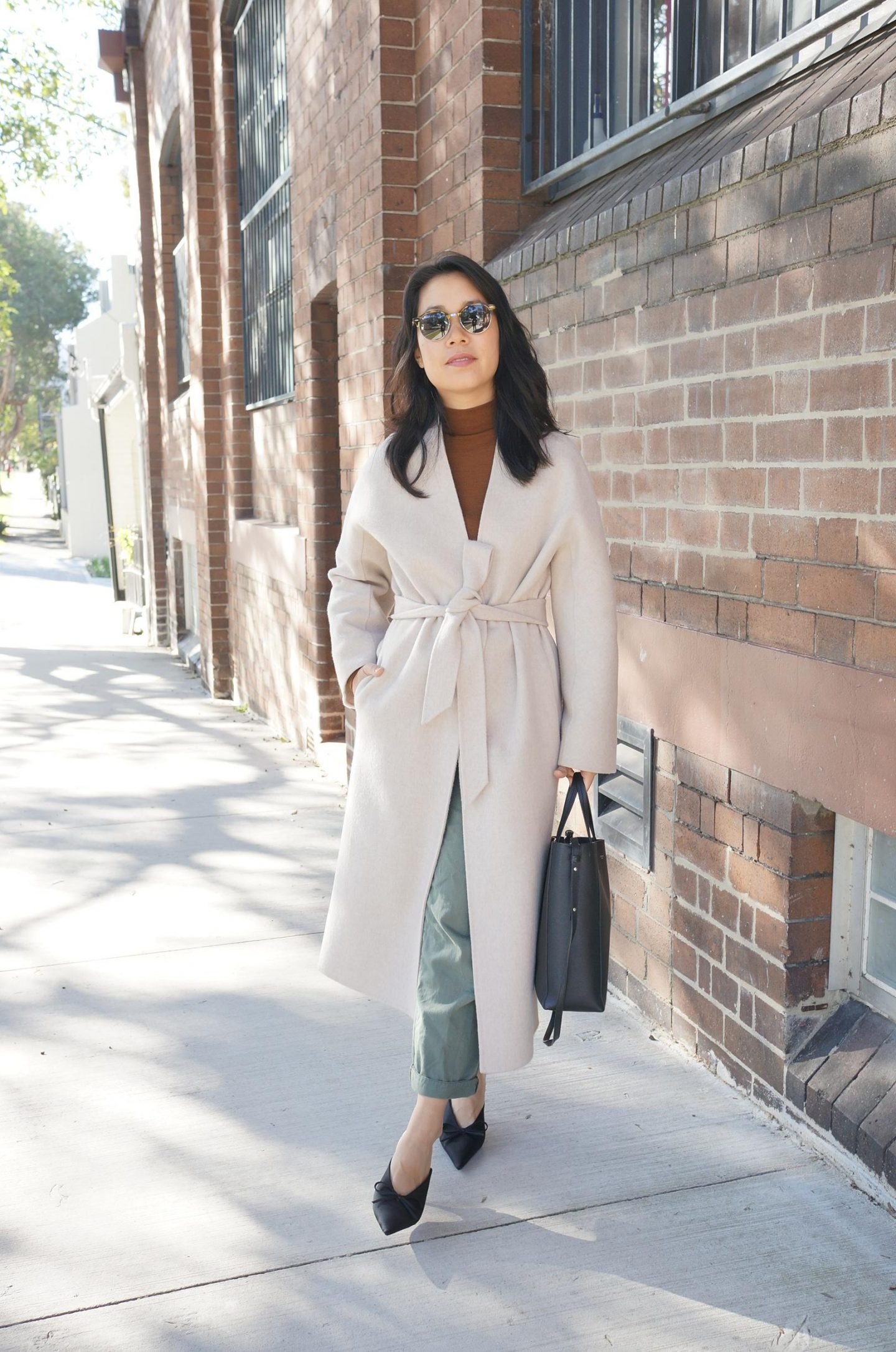 khaki and brown styling with the curated coat, mango khaki pants and celine cabas bag