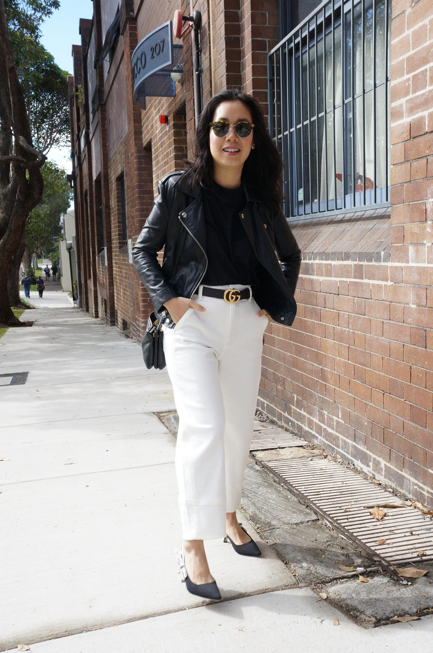 transseasonal jackets featuring leather jacket and everlane white jeans styled with gucci belt
