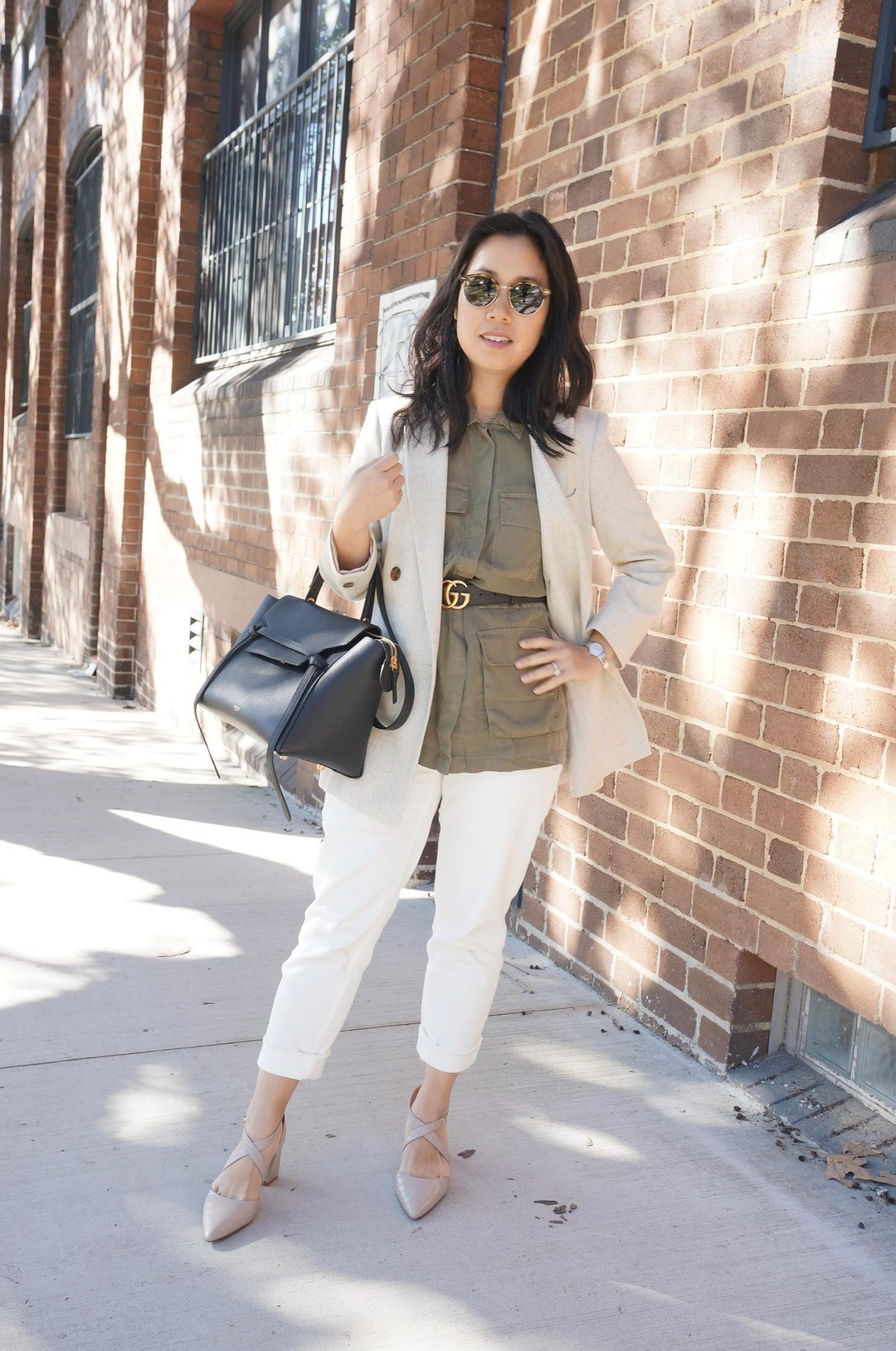 One Item 4 ways - the light neutral colour blazer featuring reiss lauren oatmeal blazer styled four different ways with khaki vest and gucci belt
