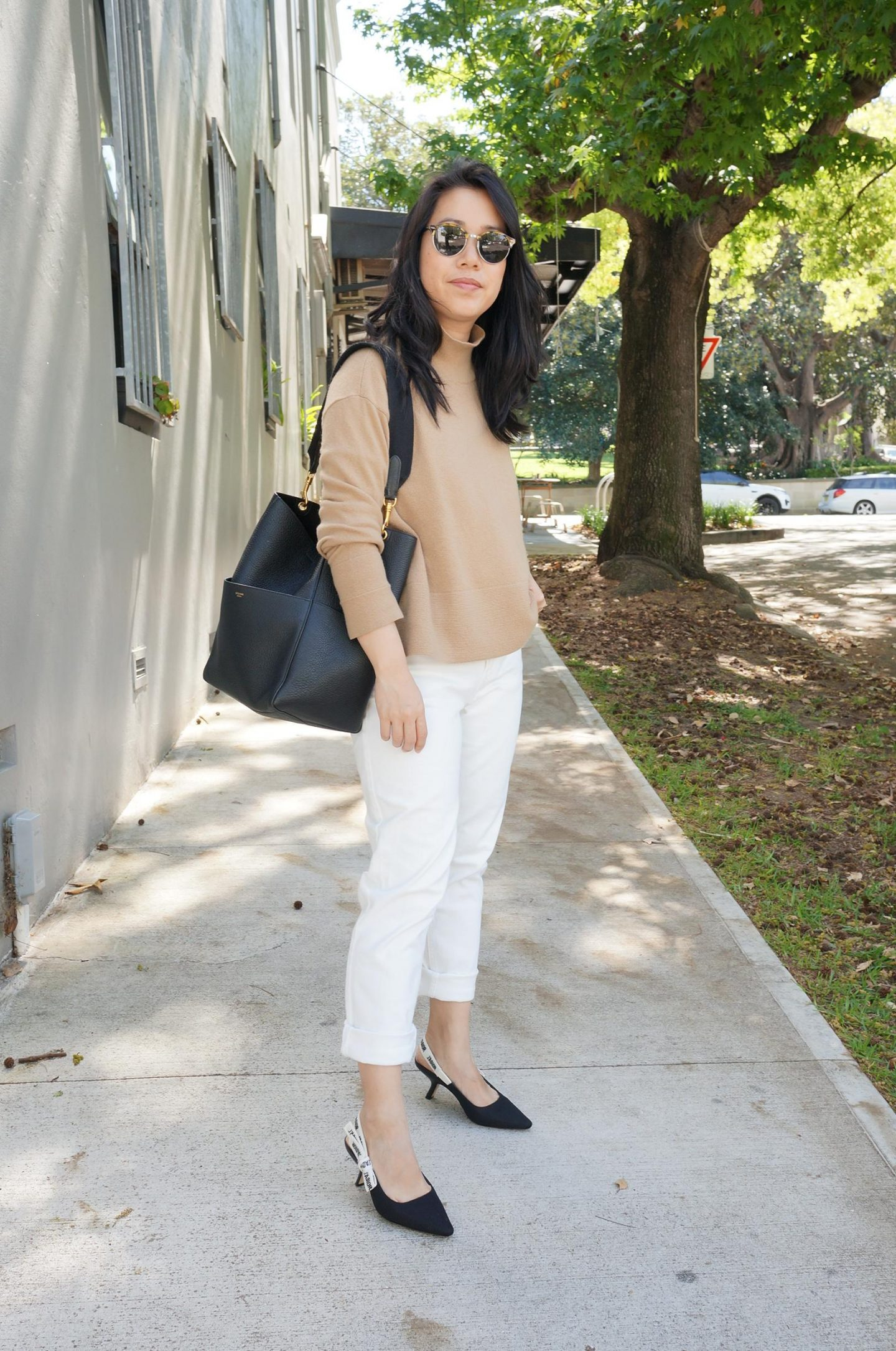 everlane cashmere camel knit featuring outfit styled with white jeans, celine sangle bag and j'adior slingbacks