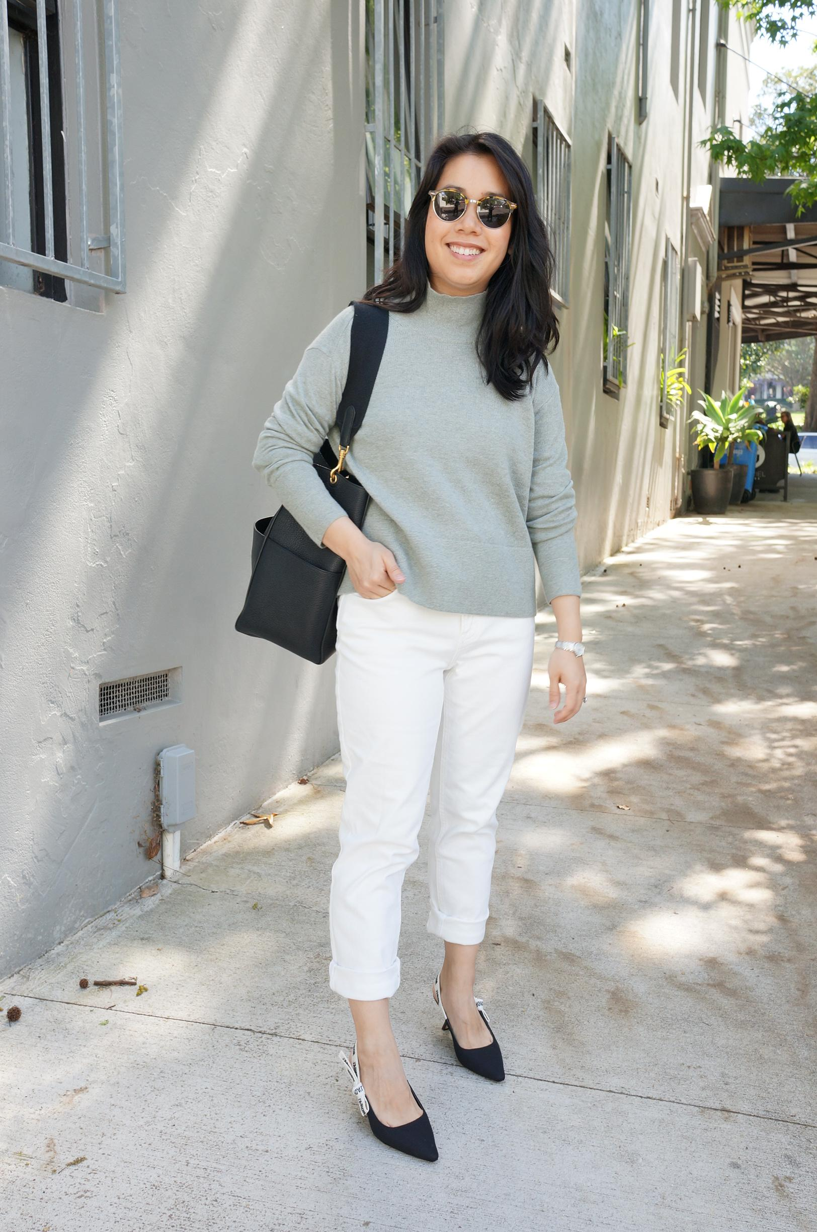 everlane cashmere turtleneck knit review featuring outfit styled with white jeans, celine sangle bag and j'adior slingbacks