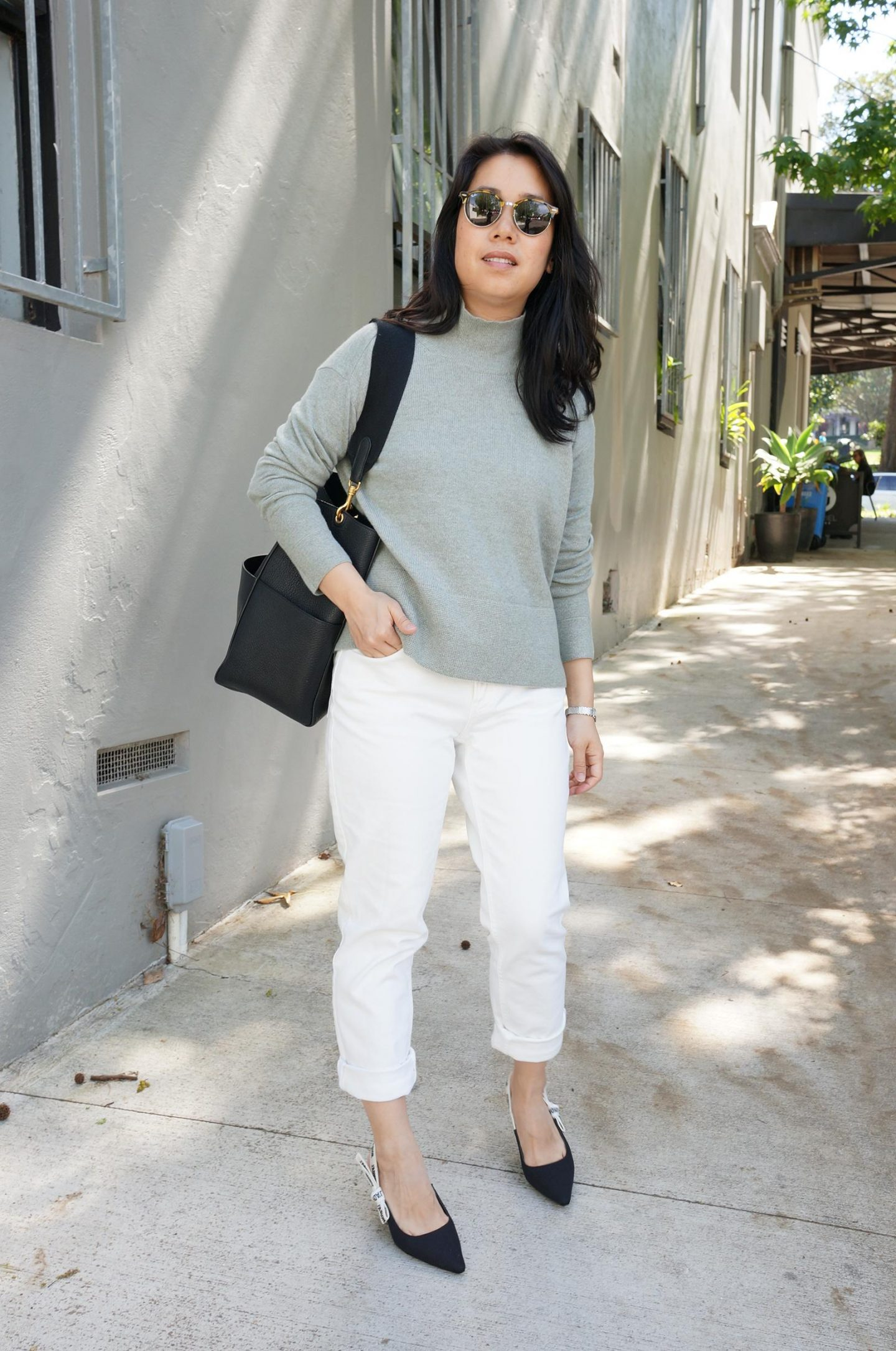 everlane cashmere square turtleneck in sage styled with curvy cheeky straight jean and celine sangle bag