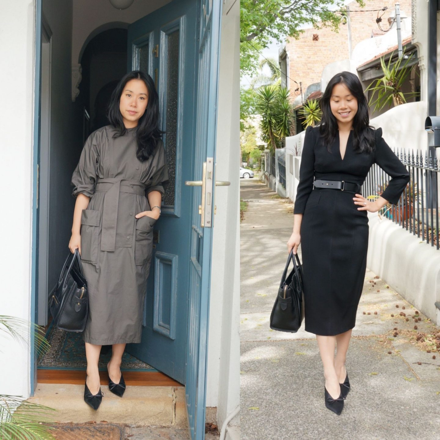 selling my celine luggage tote and the questions i ask myself when deciding whether to keep vs sell featuring karen millen forever dress