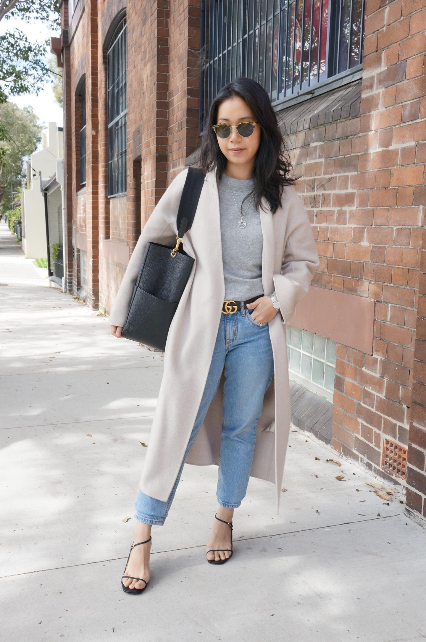 blog post featuring favourite outfits of 2020 featuring the curated cashmere coat and celine sangle bag
