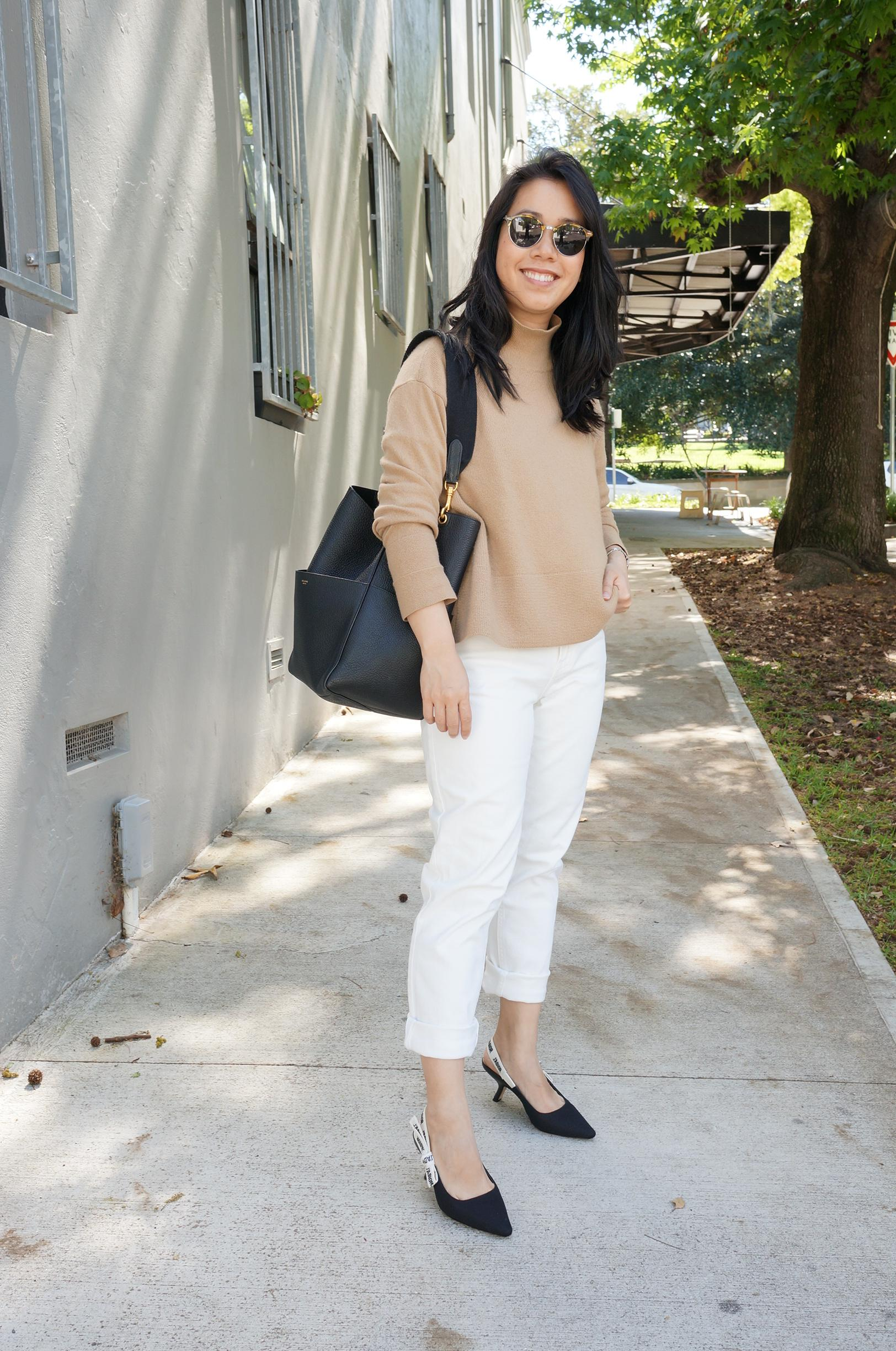 everlane cashmere sweater styled with white jeans, celine sangle bag and j'adior slingbacks