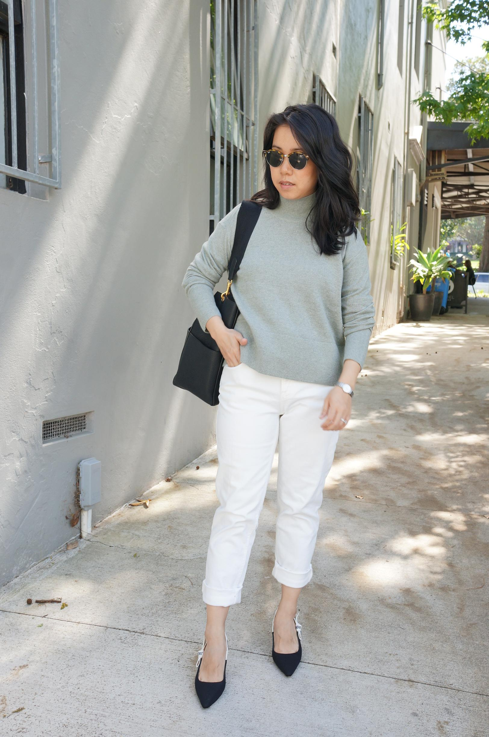 everlane sage cashmere knit featuring outfit styled with white jeans, celine sangle bag and j'adior slingbacks