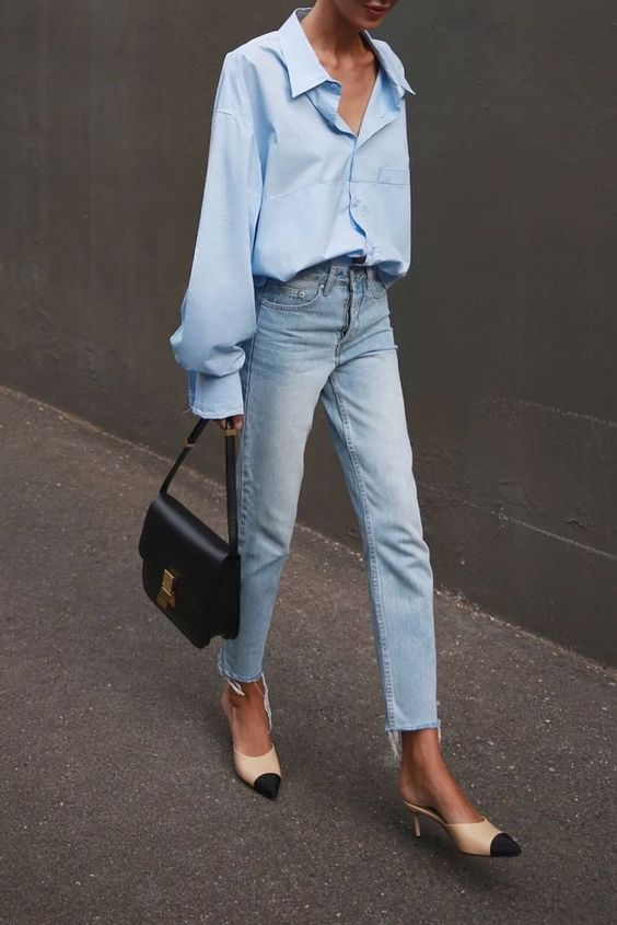 outfit with relaxed jeans and blue oversized shirt