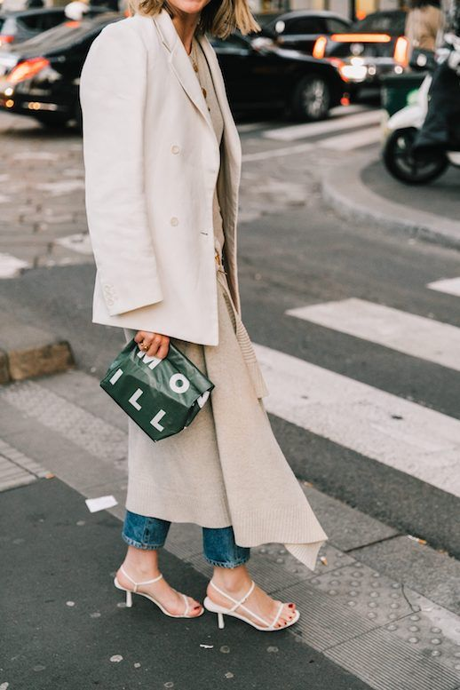 the row bare sandals dupe in street style outfit styled with neutral blazer and jeans