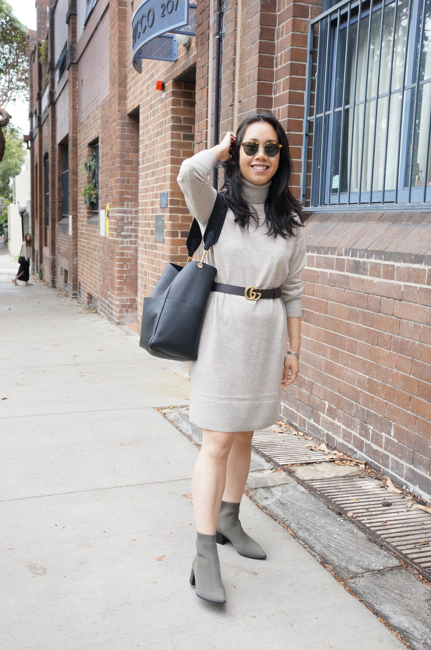 everlane cashmere turtleneck dress in oatmeal in blog post about over 30s style tips