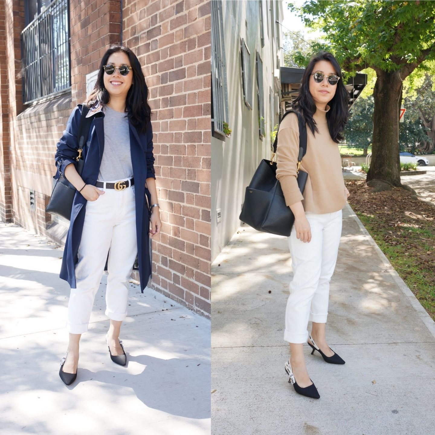outfits with everlane white jeans in blog post of celine seau sangle bag review