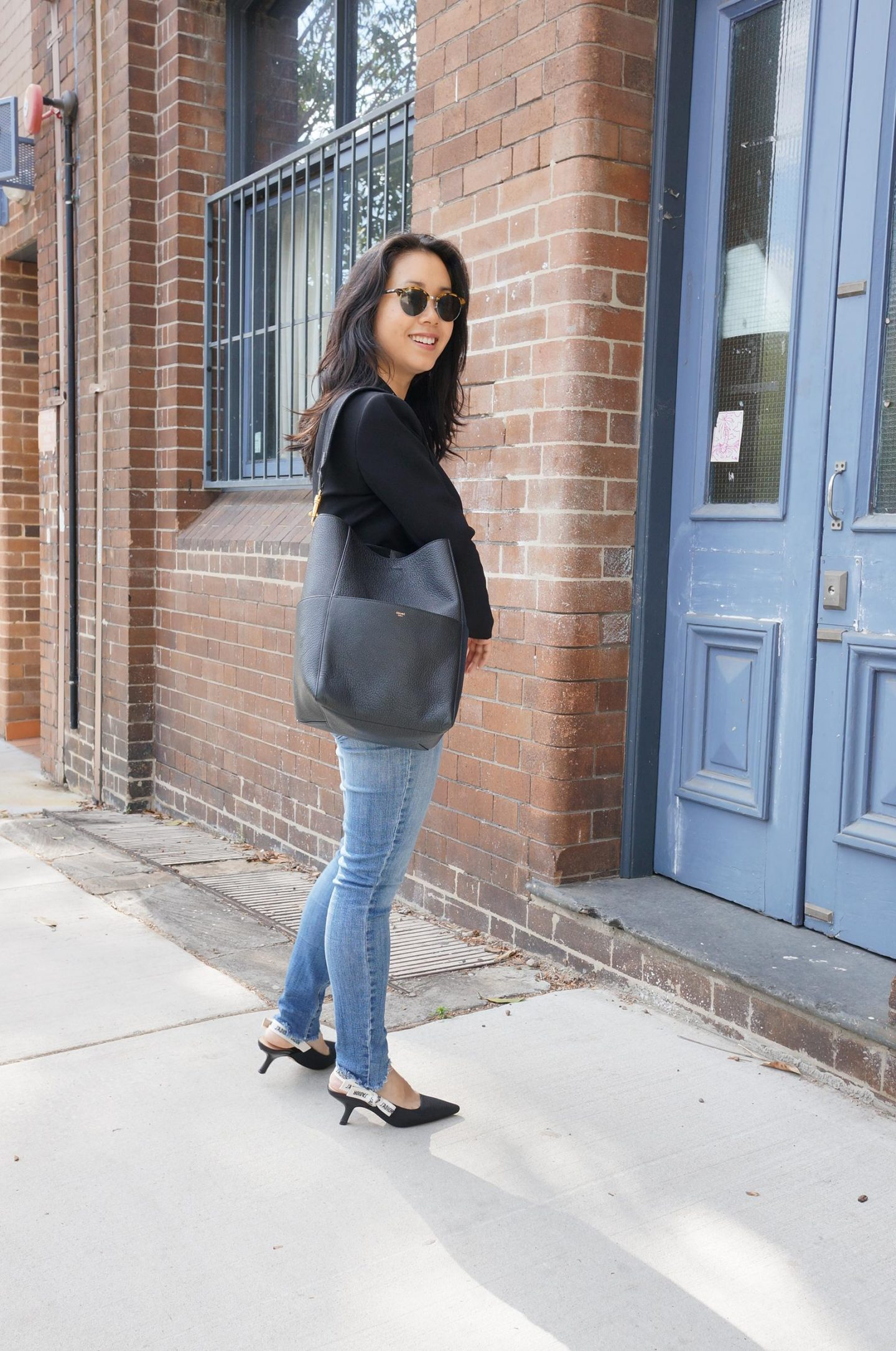 celine seau sangle bag review featuring outfit with black blazer, dior slingbacks