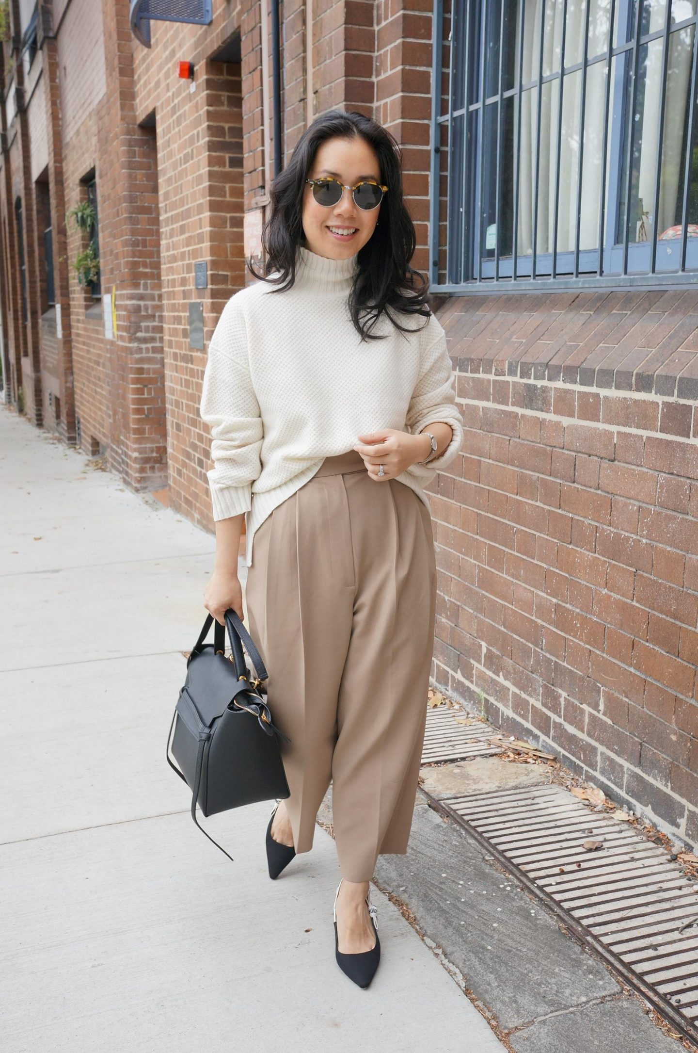 blog post featuring asian petite woman wearing frankie shop bea trousers with review on sizing and everlane cashmere sweater