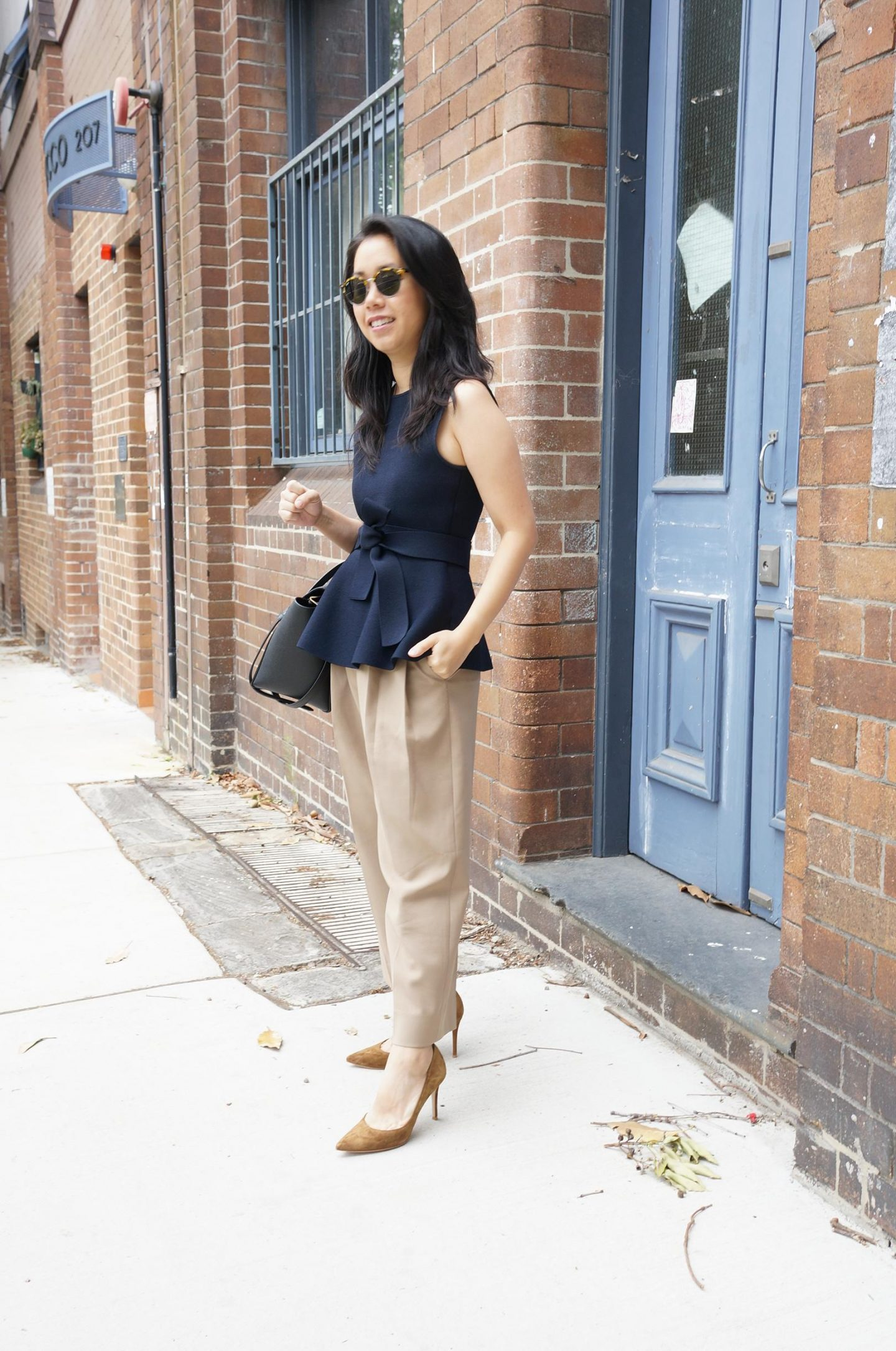 blog post featuring asian petite woman wearing frankie shop bea trousers and review