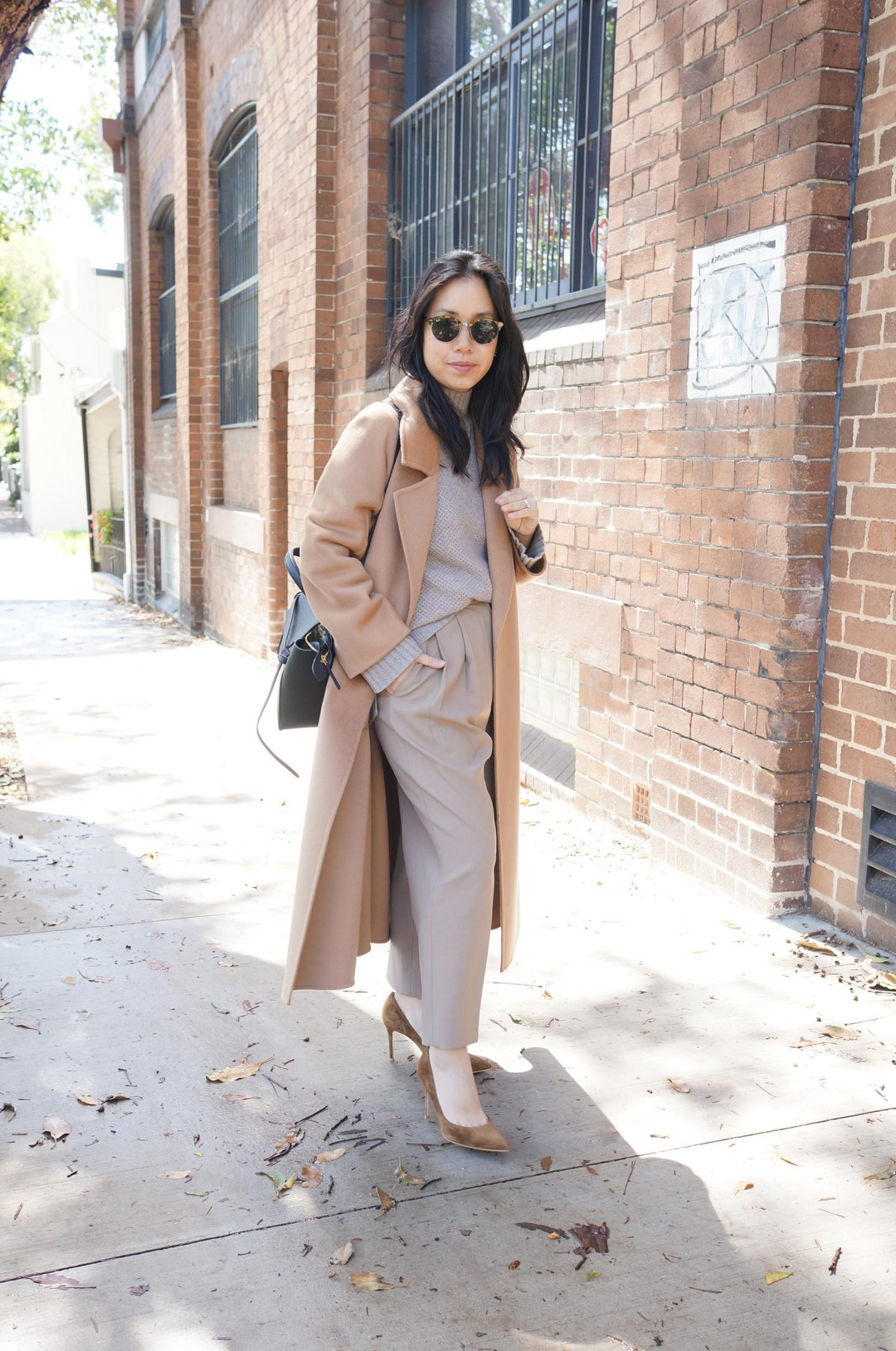 blog post featuring asian petite woman wearing frankie shop bea trousers and review and curated tailored coat