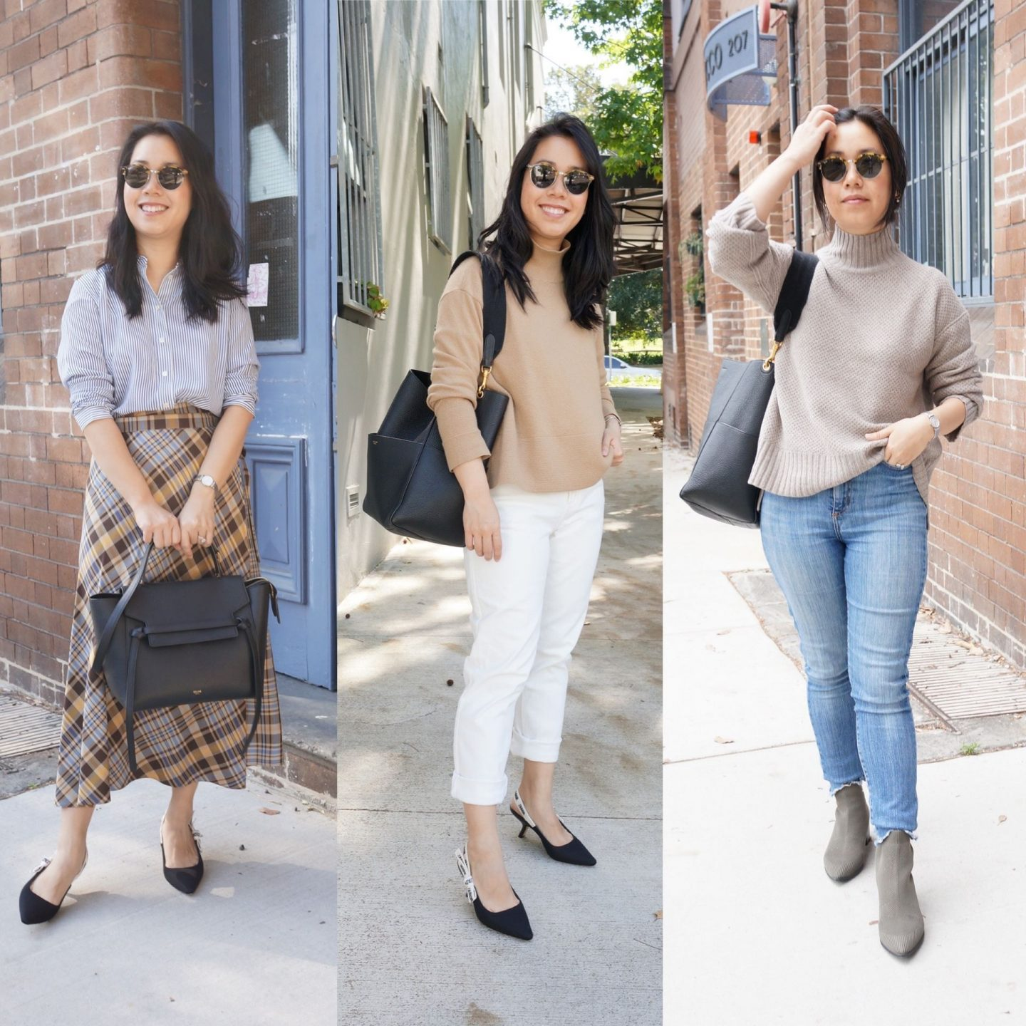 asian petite woman in everlane pieces in blog post about everlane favourites of 2020