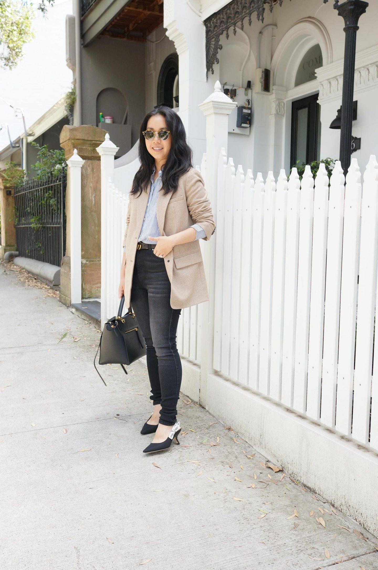 everlane oversized wool blazer review in beige twill