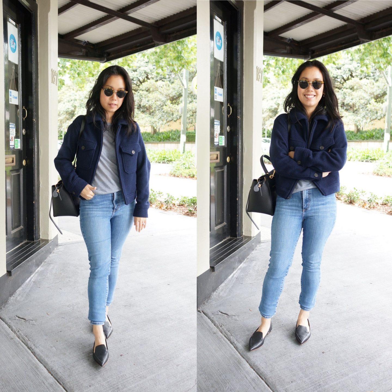 everlane wool mackinaw jacket in outfit with nobody denim jeans, nicholas kirkwood beya loafers