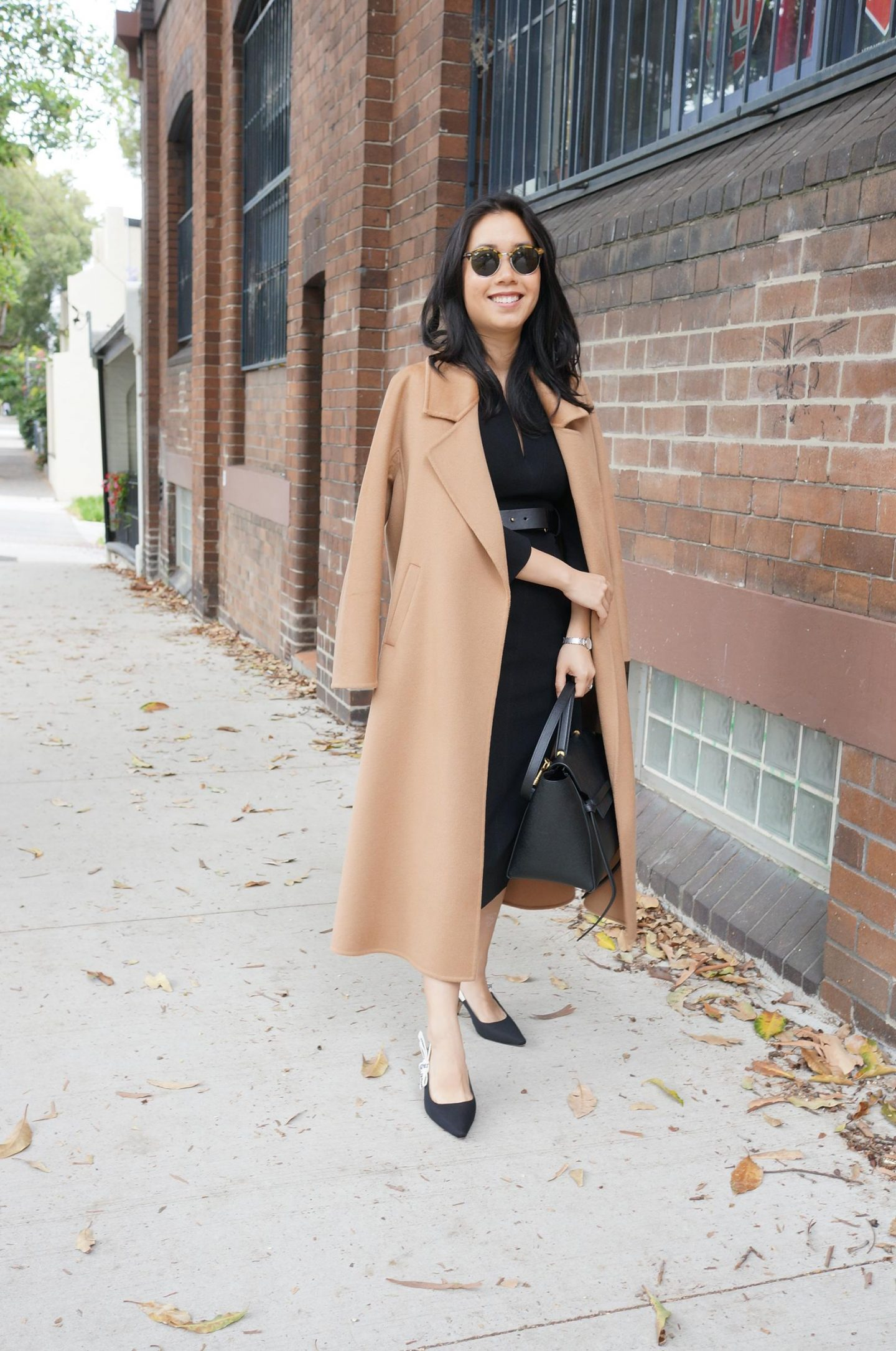 karen millen forever dress styled with the curated coat in blog post about setting clothing budgets