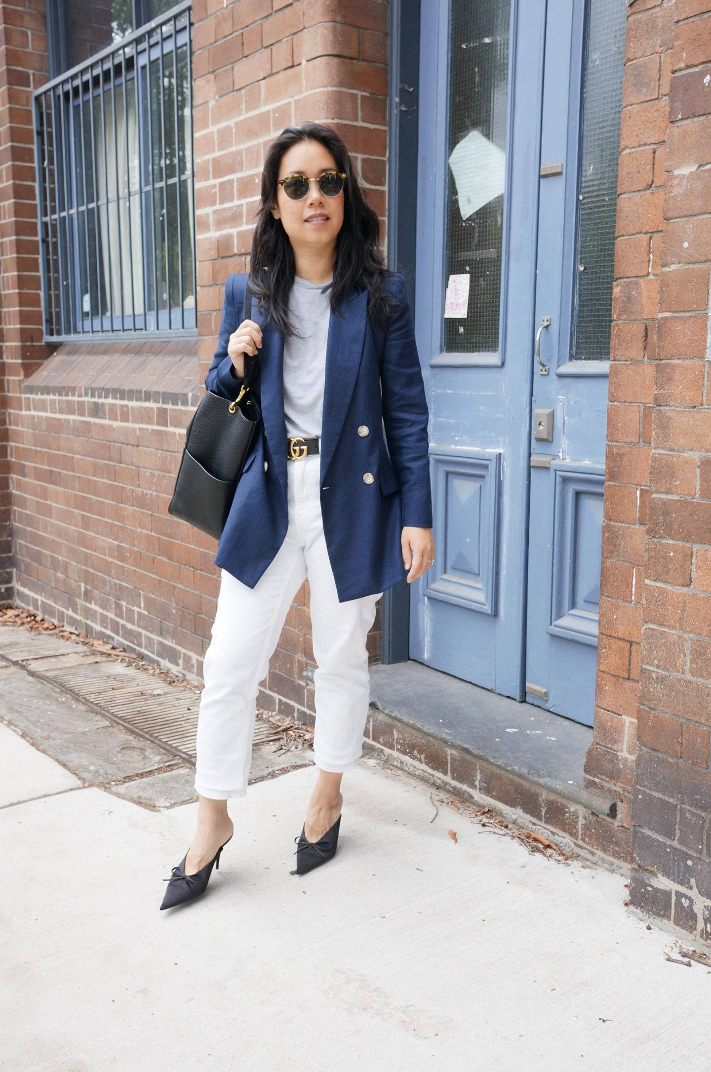 sarah lloyd duchess of cambridge blazer styled in smart casual outfit in blog post about first designer purchase tips