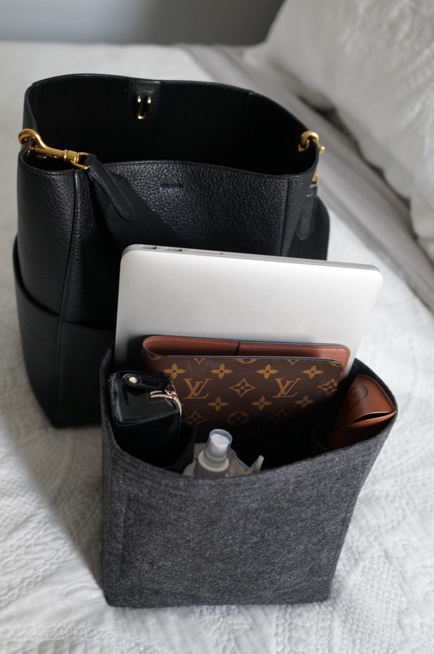 photo of celine bag with bag organiser in blog post about caring for handbags so they last