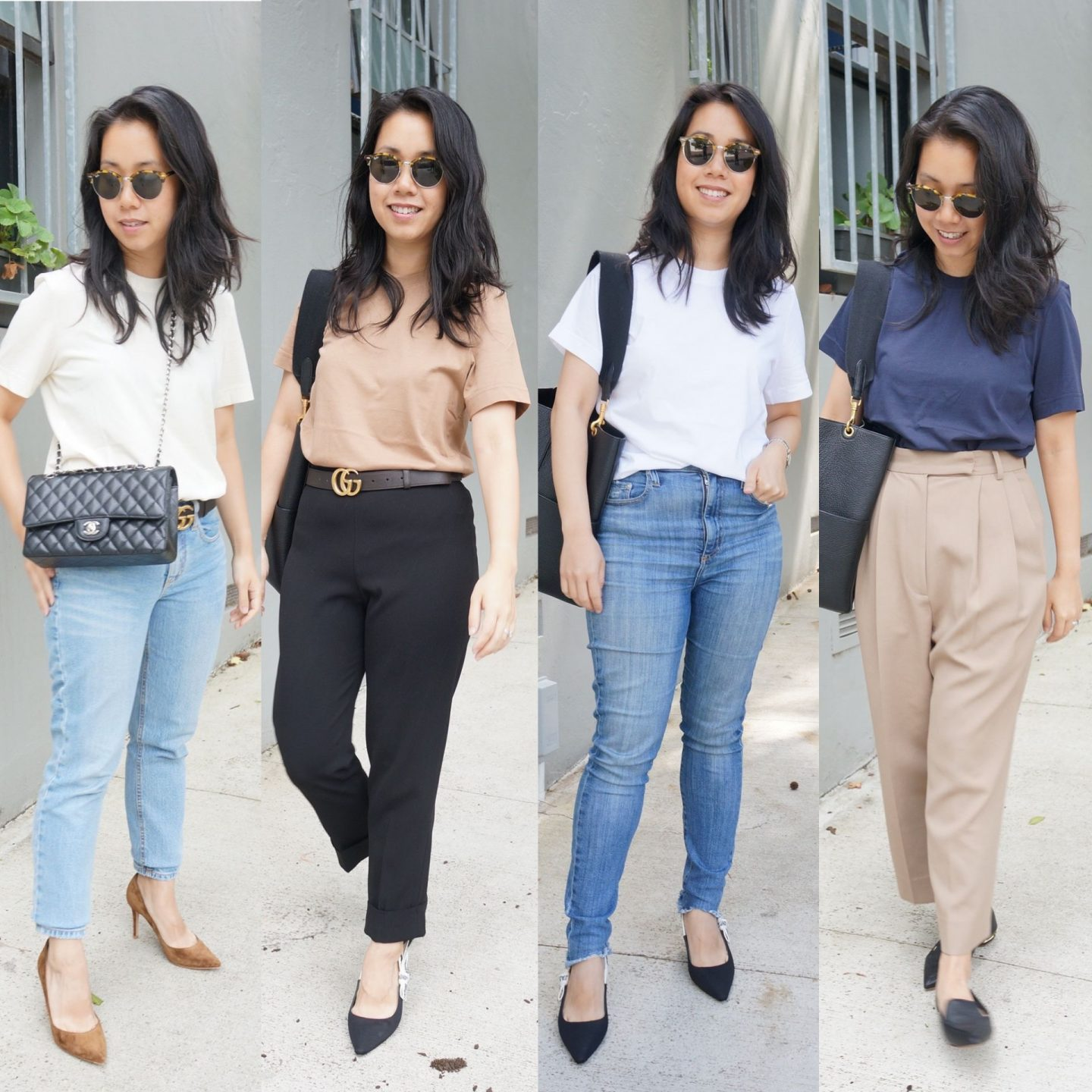collage of petite asian woman wearing four different colours of arket crew neck t-shirt in review blog post
