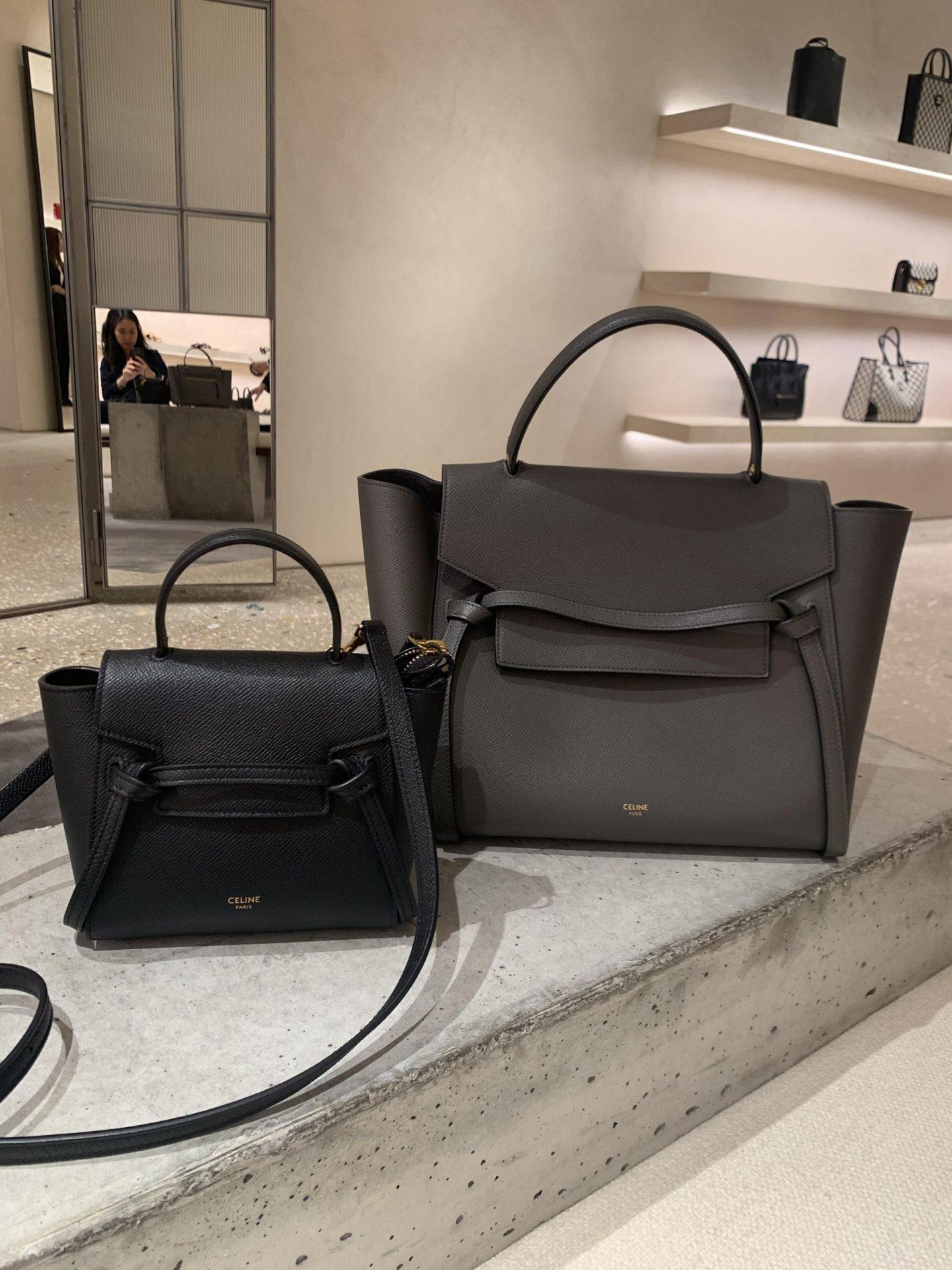 celine pico belt bag next to celine mini belt bag