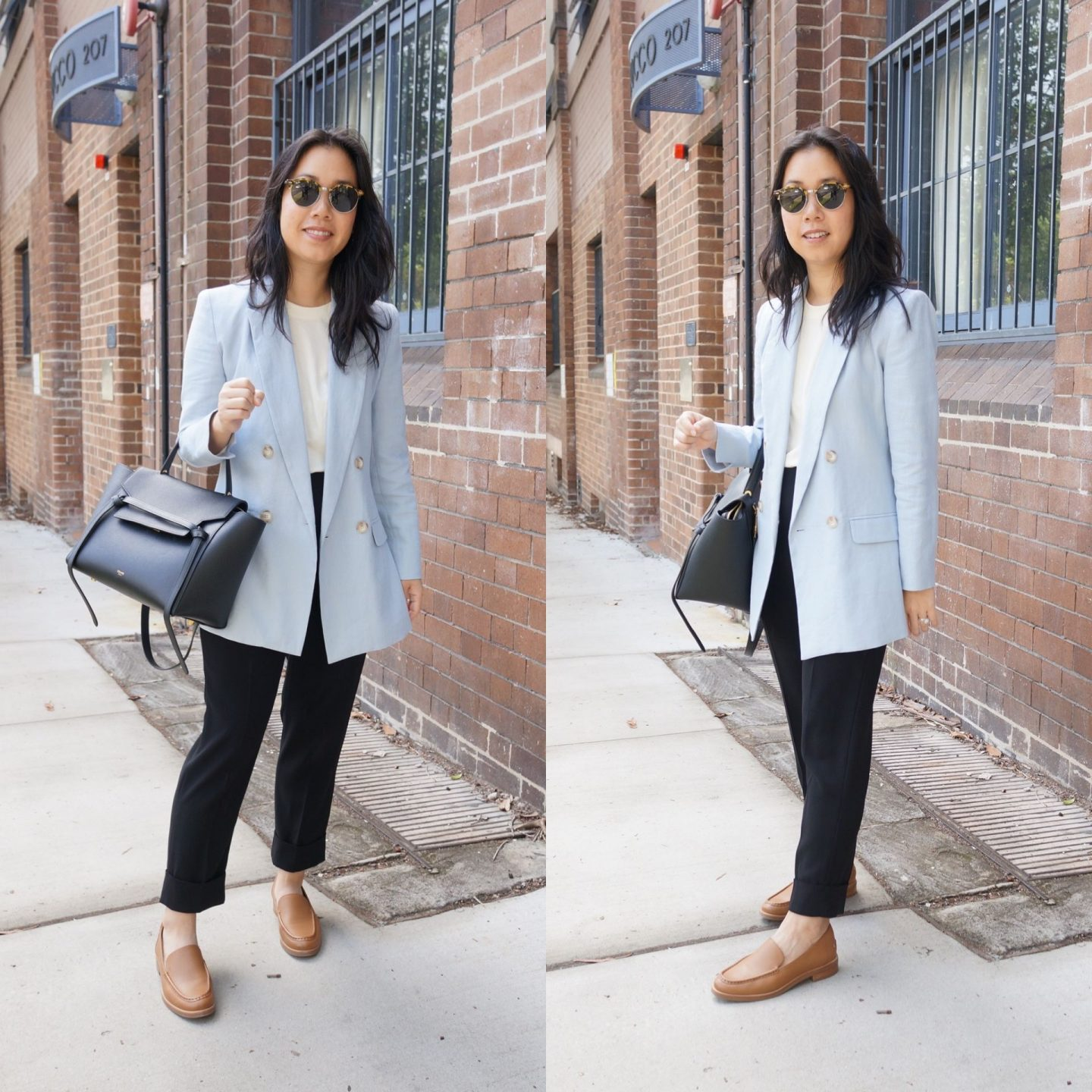 woman wearing sarah lloyd blazer and everlane modern loafer in camel in comprehensive review blog post