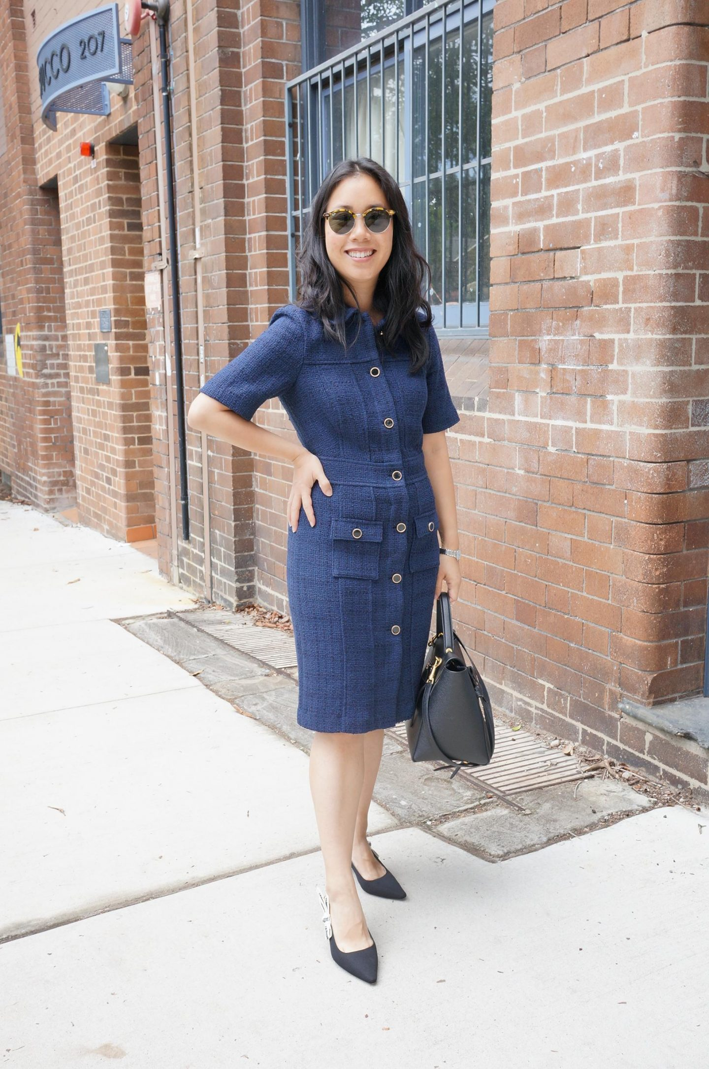 dupe for chanel navy tweed dress in blog post of marks spencer workwear