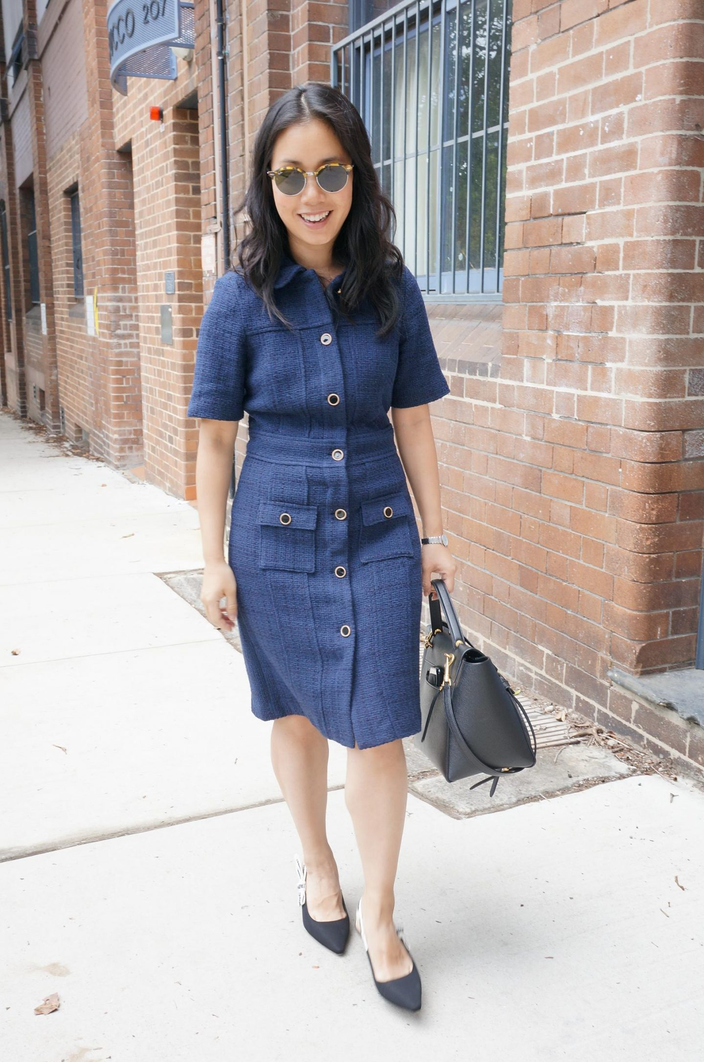 navy tweed dress that is a dupe for chanel tweed dress in blog post about marks spencer workwear