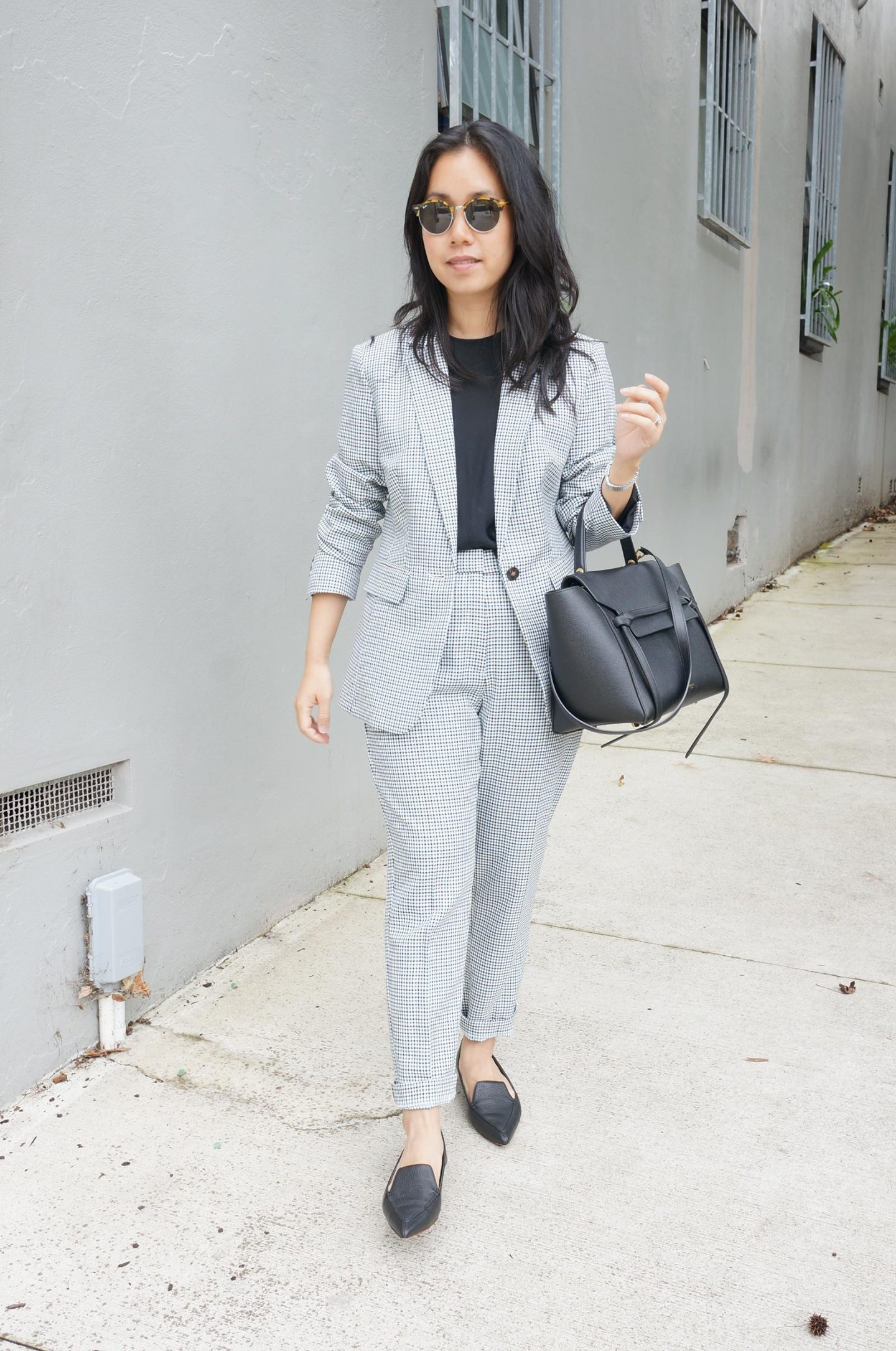 checked trouser suit in blog post about marks spencer workwear favourites