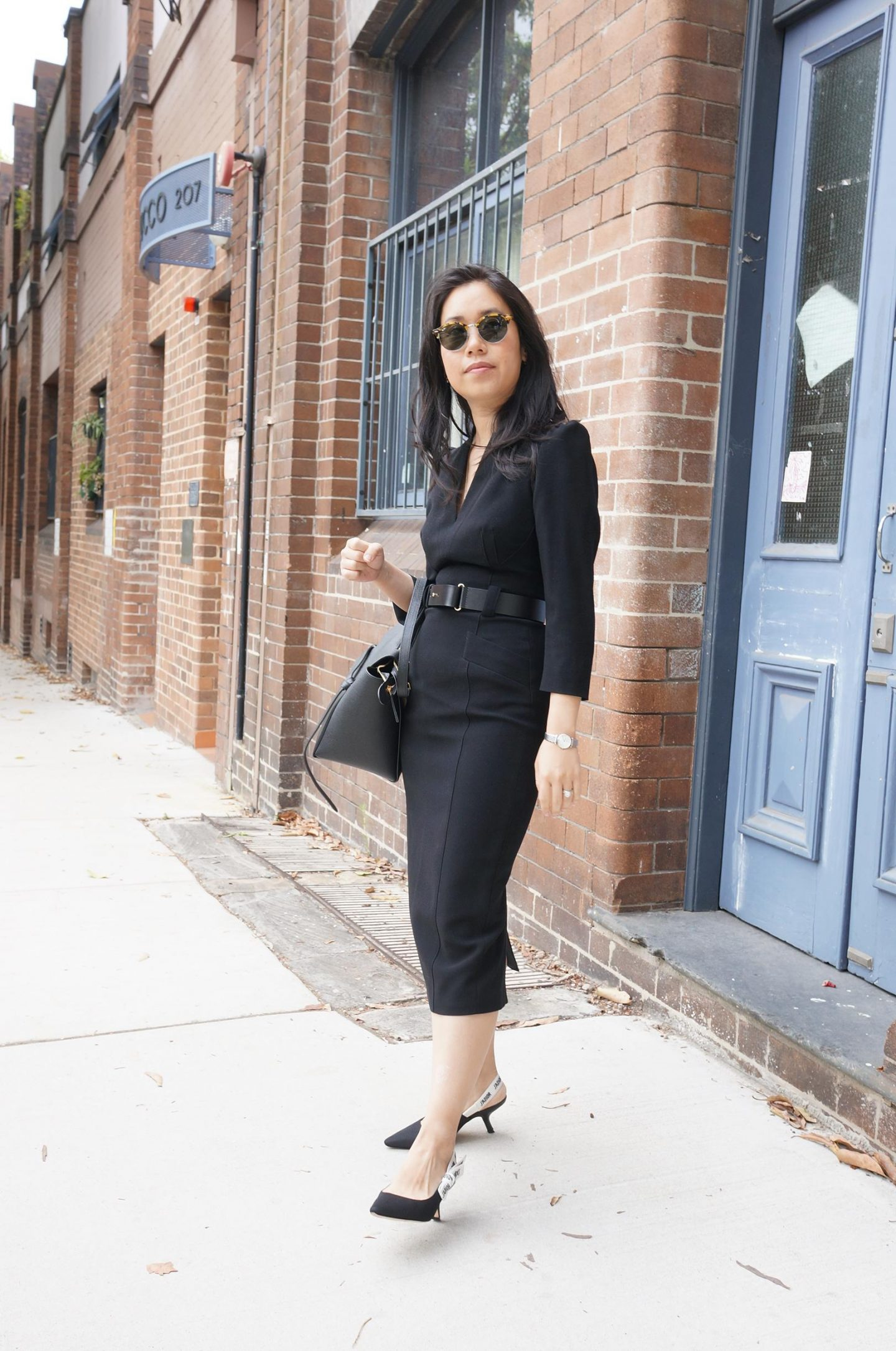 woman wearing karen millen forever dress in blog post about what to wear for your first day of a new job
