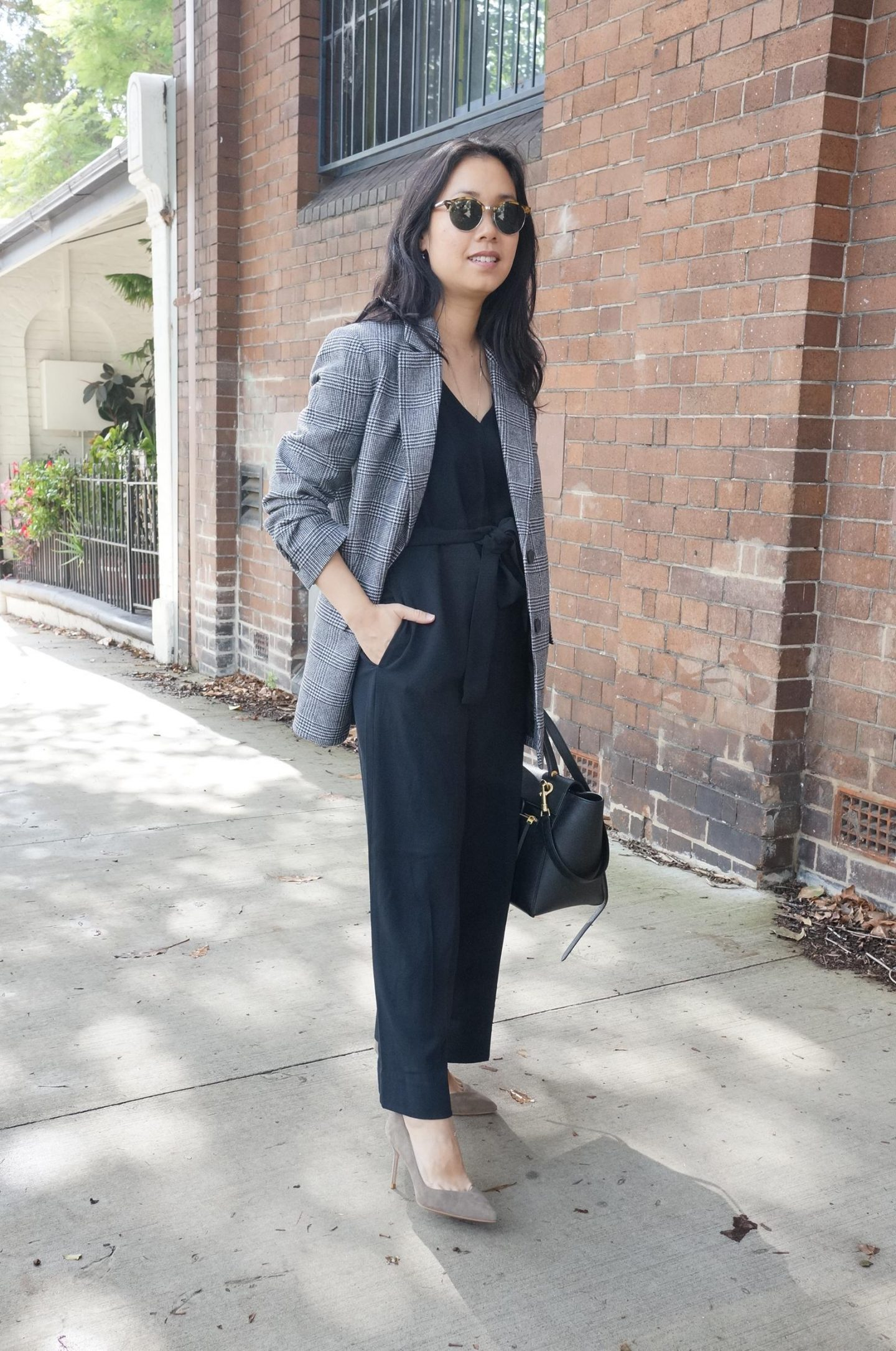 everlane japanese goweave essential jumpsuit styled with everlane oversized wool blazer and sarah flint pumps