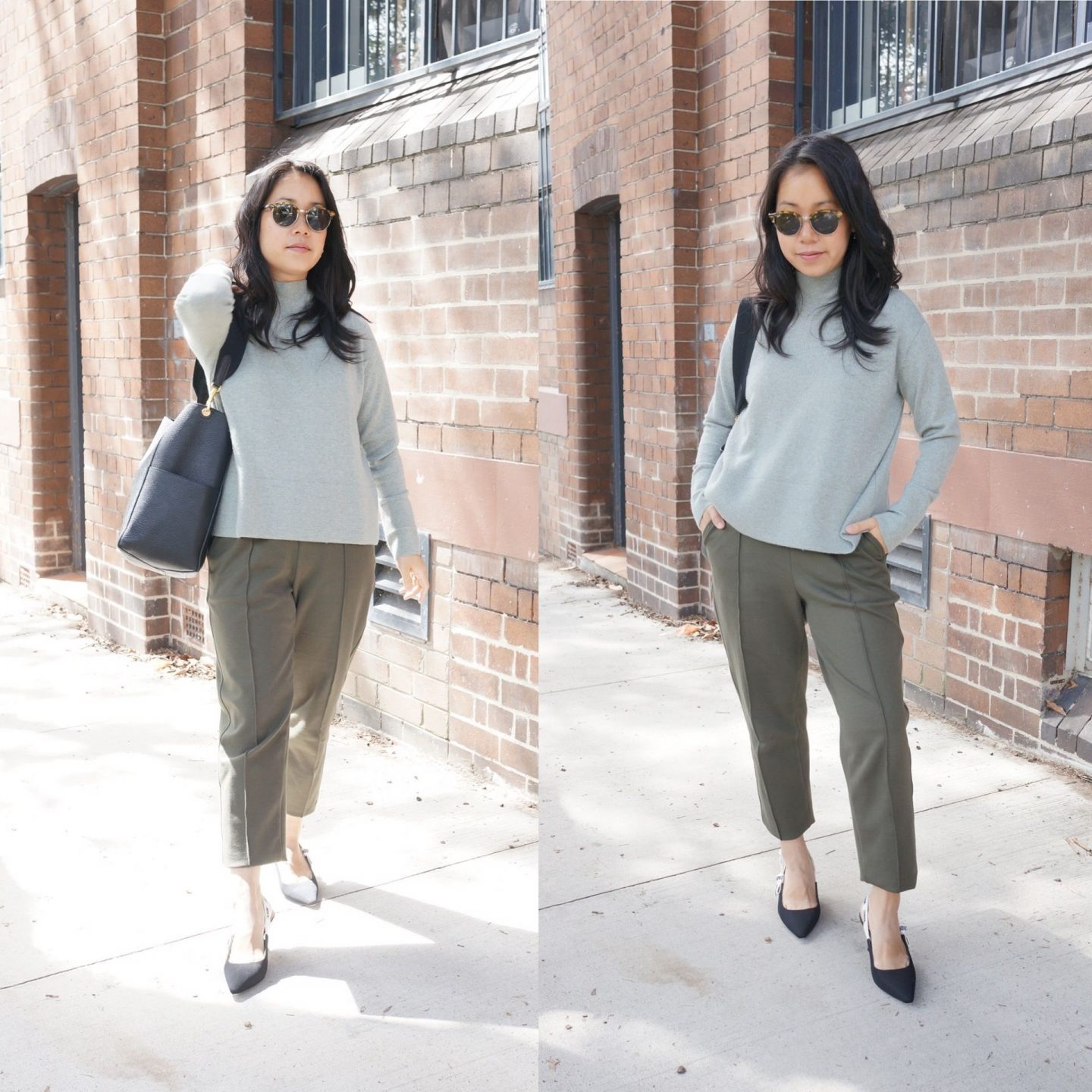 collage of woman wearing everlane dream pant with everlane turtleneck knit