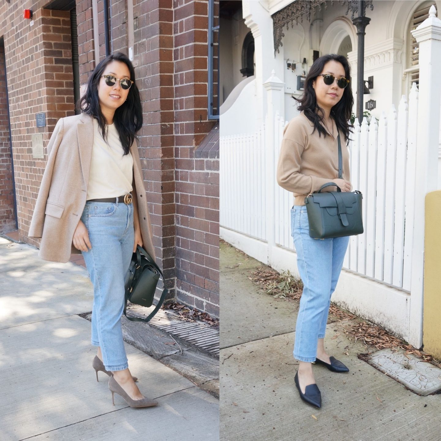 collage of woman wearing smart casual outfits and senreve mini maestra bag in blog post revieiwng the bag